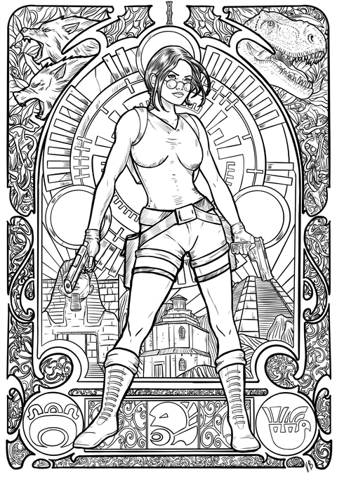 An image of a coloring book page from Tomb Raider 1996