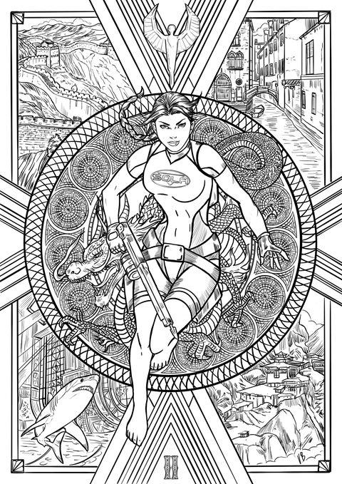 An image of a coloring book page from Tomb Raider 2