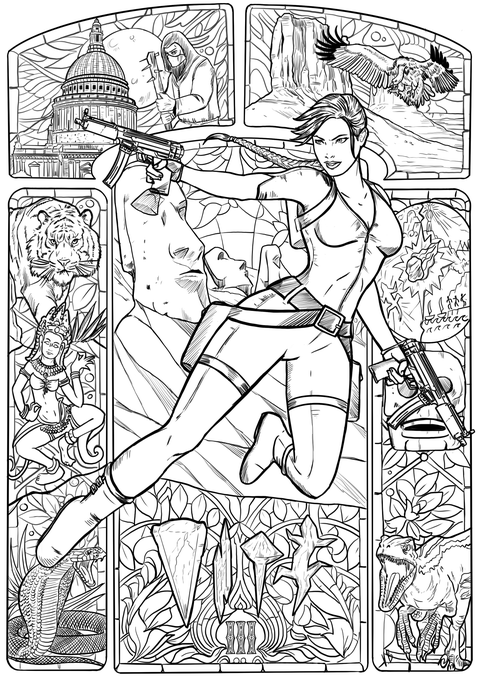 An image of a coloring book page from Tomb Raider 3