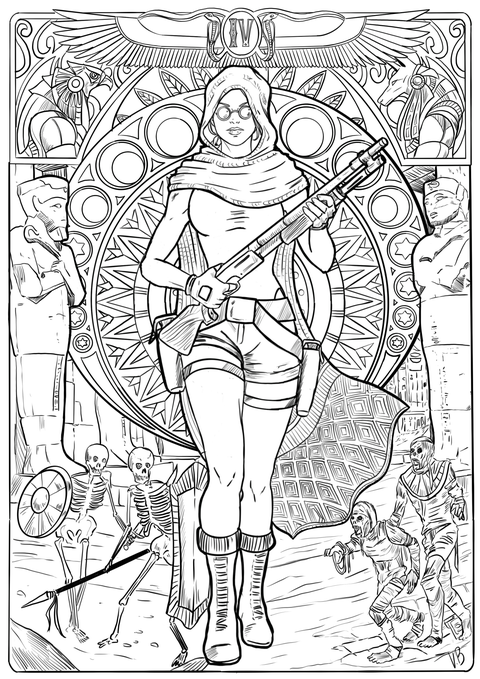 An image of a coloring book page from Tomb Raider 4