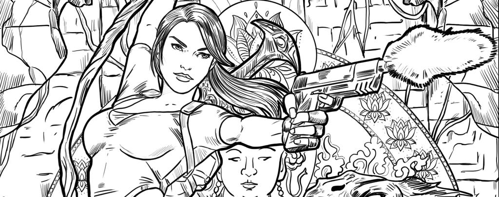 A header of a coloring book page from Tomb Raider Legend