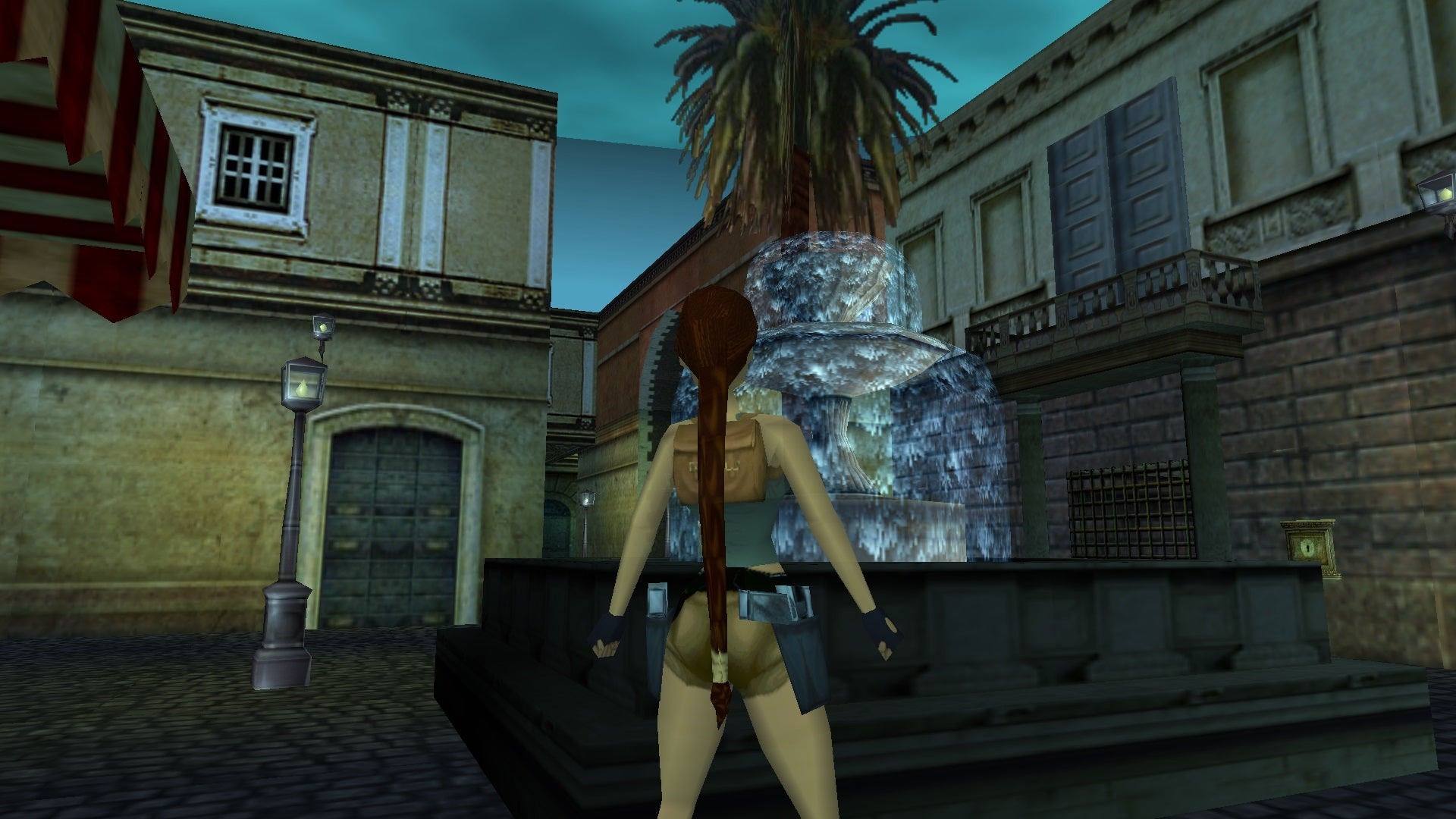 A screenshot from the Tomb Raider custom level called Rome Streets Mystery