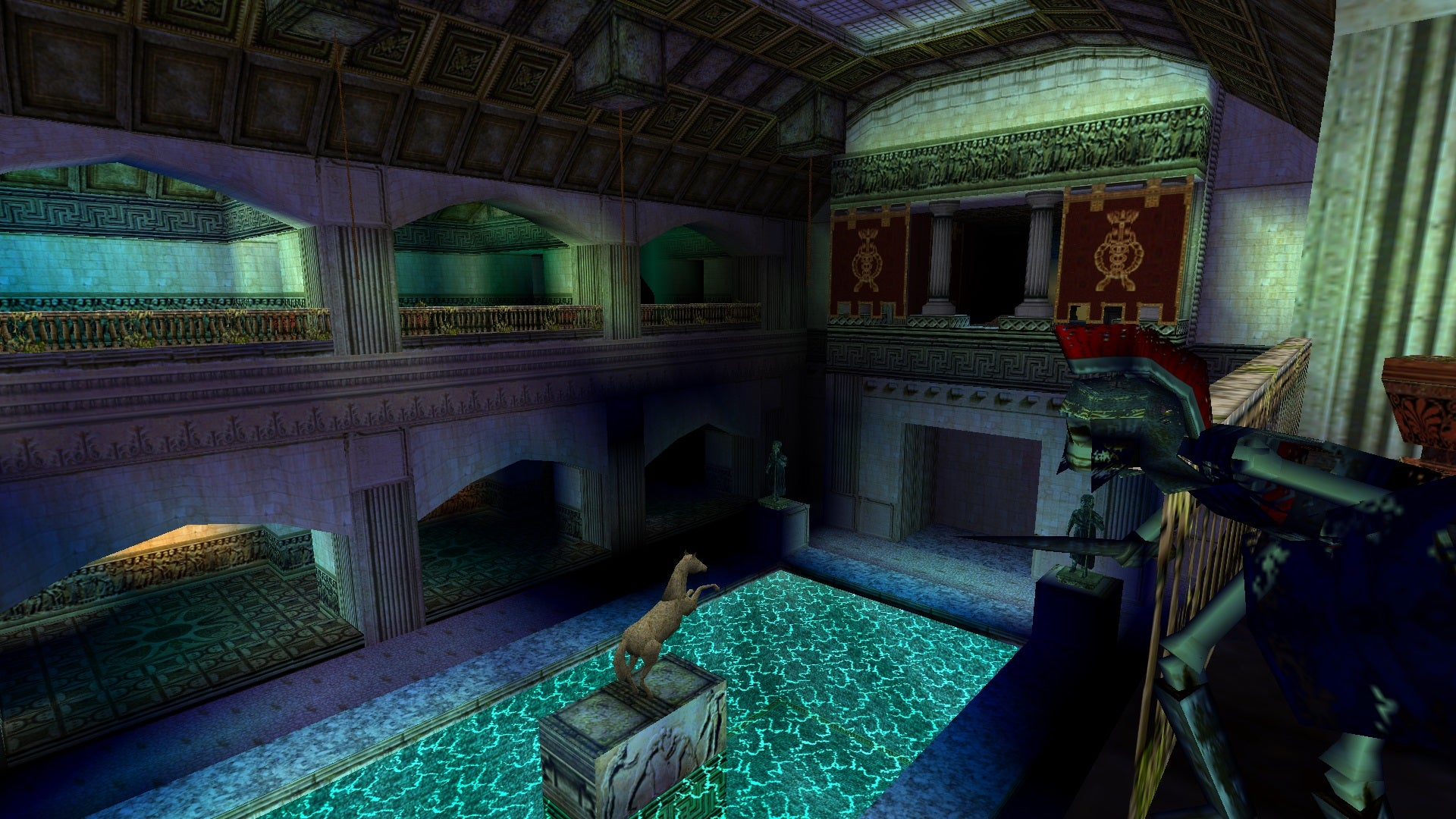 A screenshot from the Tomb Raider custom level called The Lost City of Pompeii