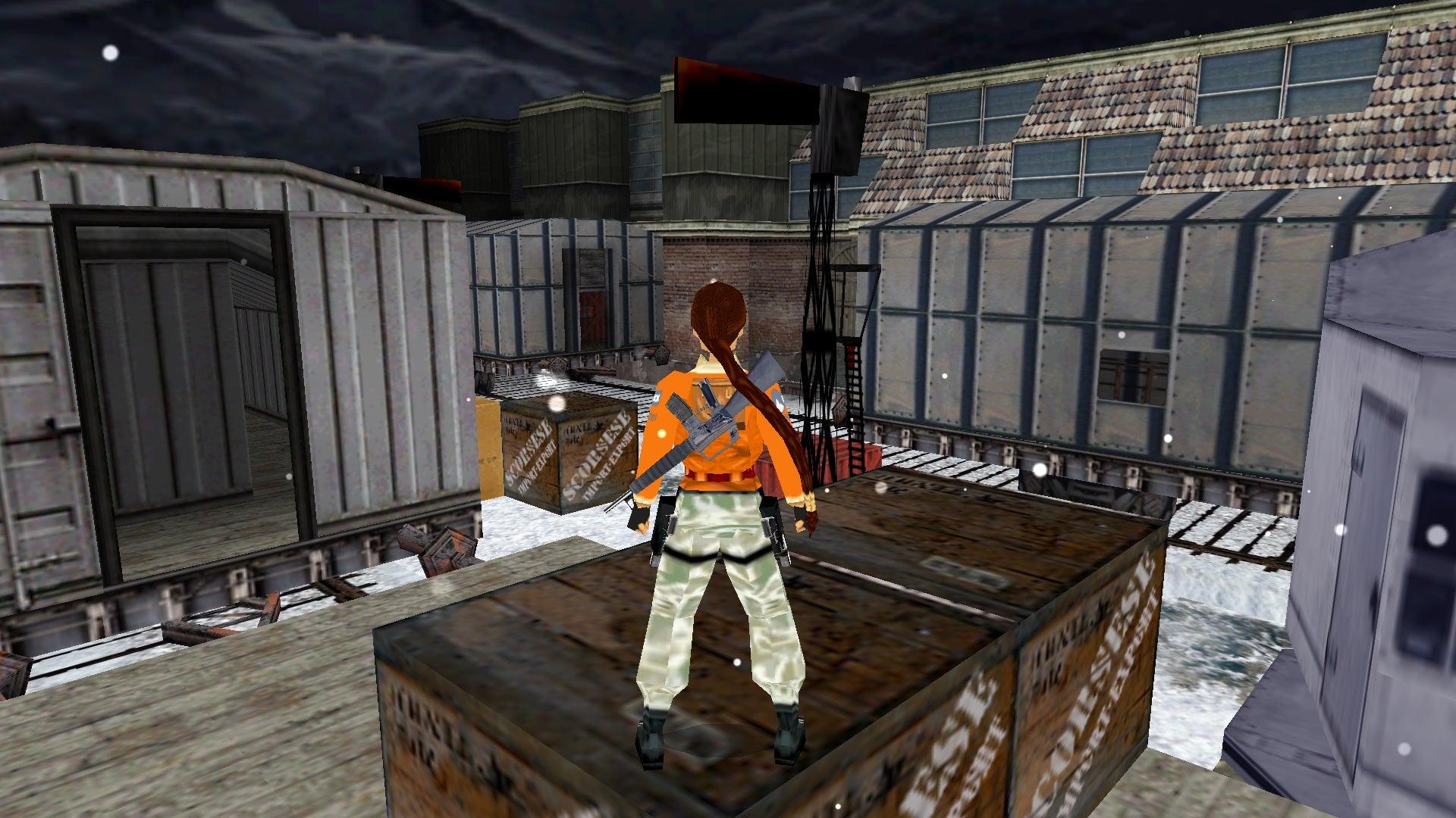 A screenshot from the Tomb Raider custom level called Train Courtyard