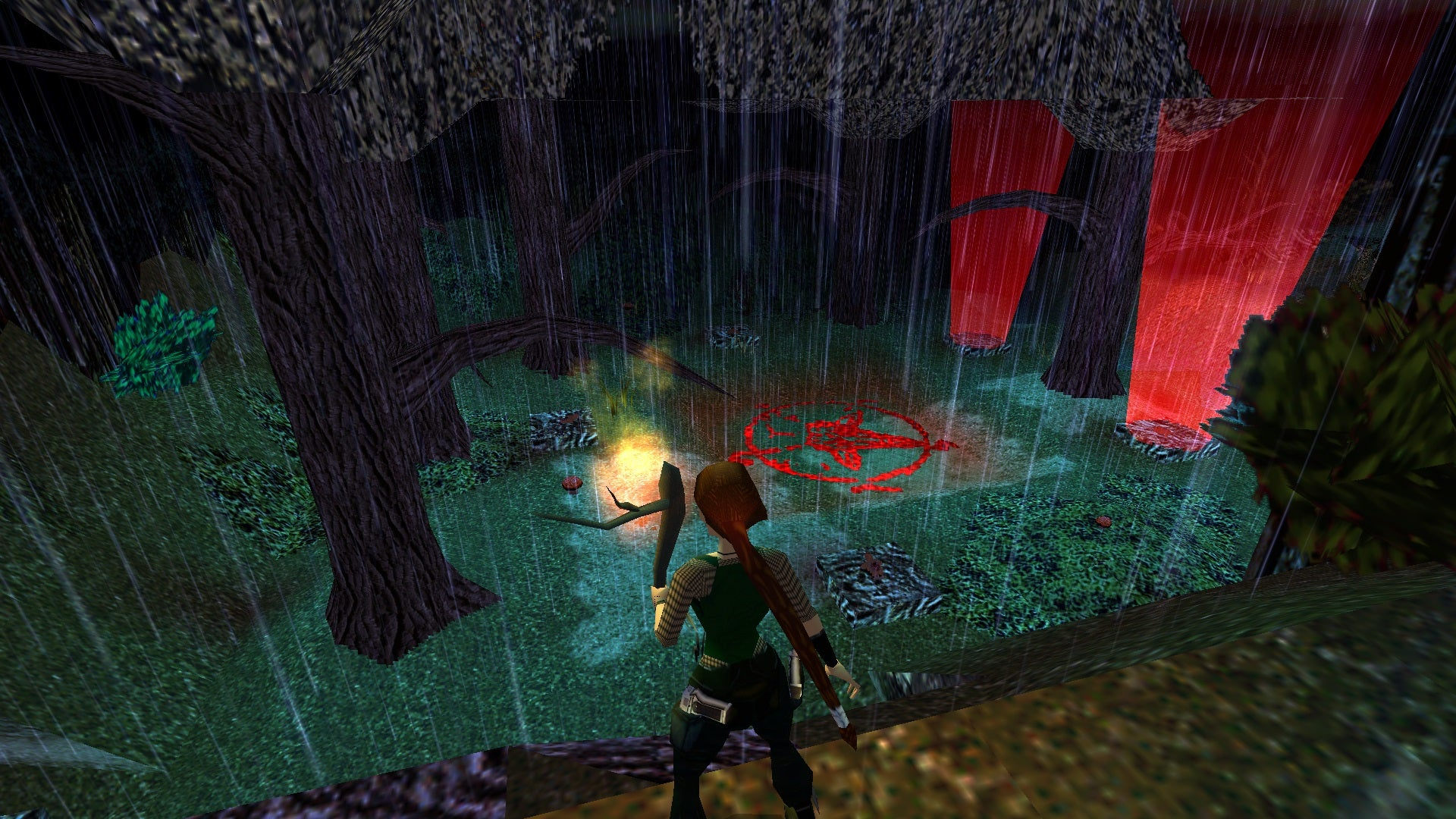 A screenshot from the Tomb Raider custom level called Blair Witch Project