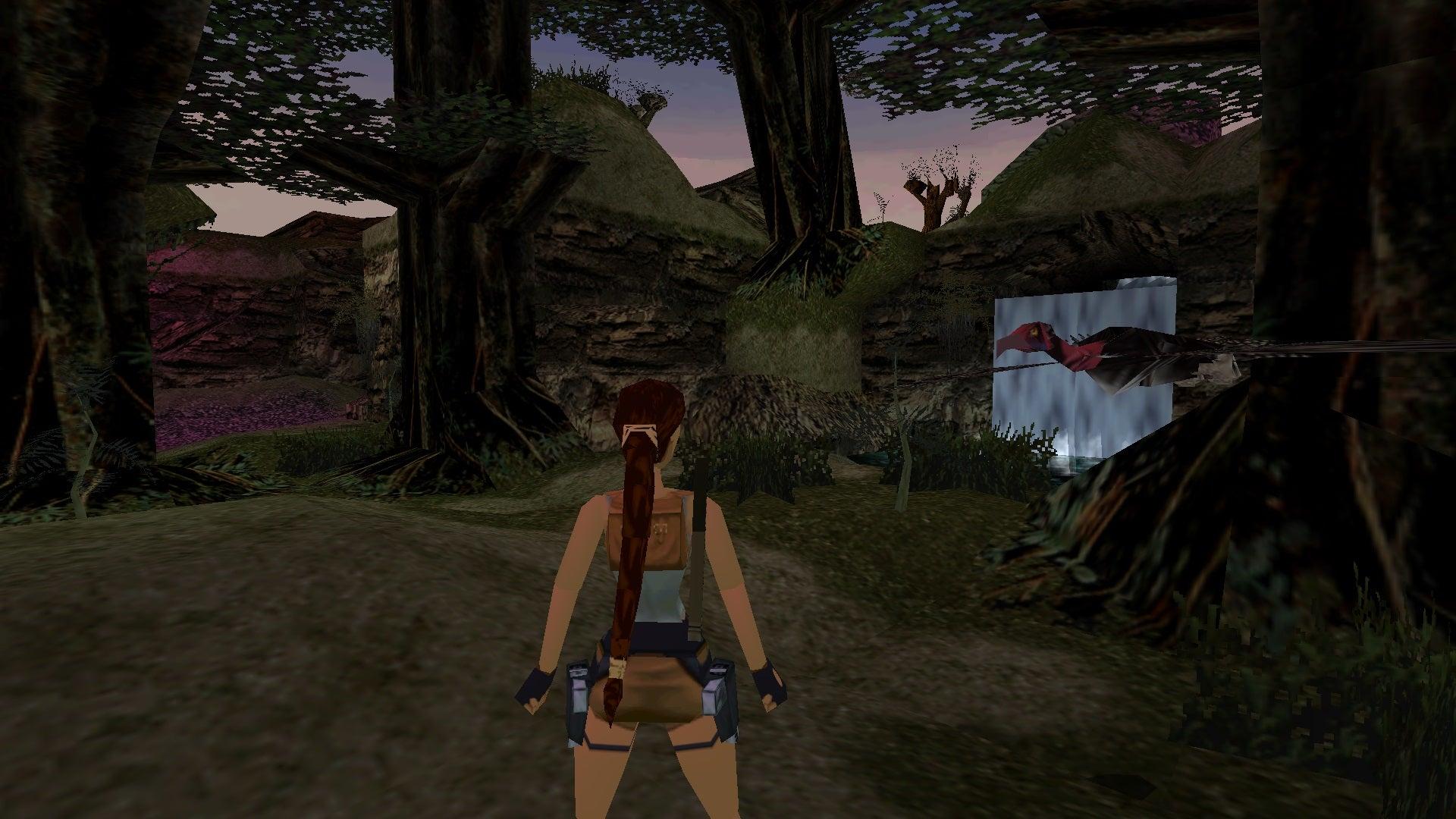 A screenshot from the Tomb Raider custom level called Tropical Island