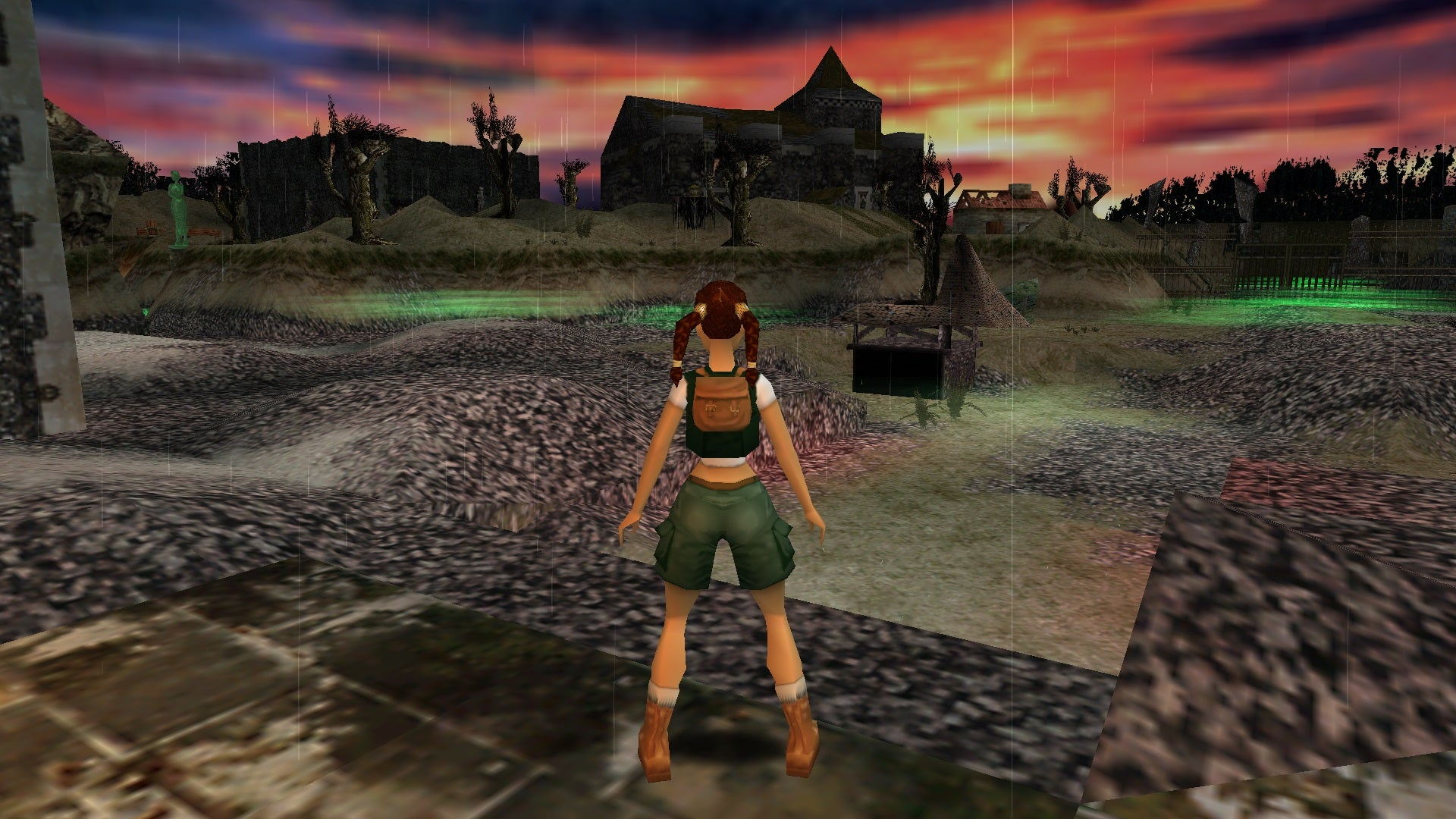 A screenshot from the Tomb Raider custom level called The Cursed Templar