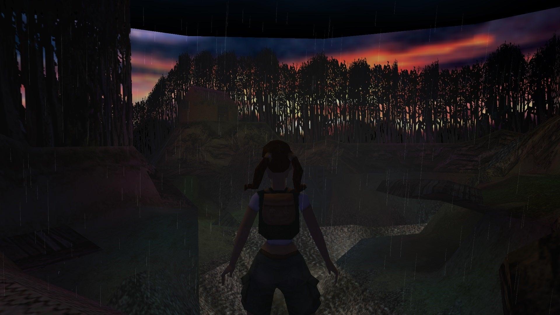 A screenshot from the Tomb Raider custom level called The Hike