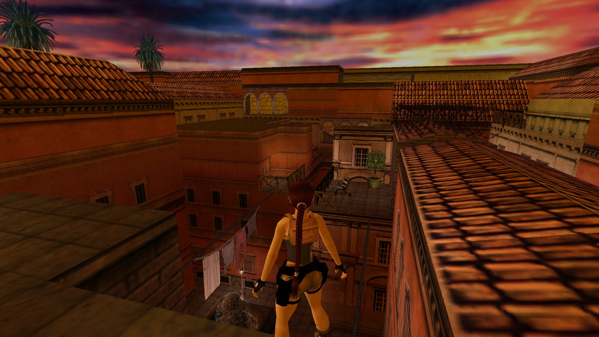 A screenshot from the Tomb Raider custom level called Evening in Rome