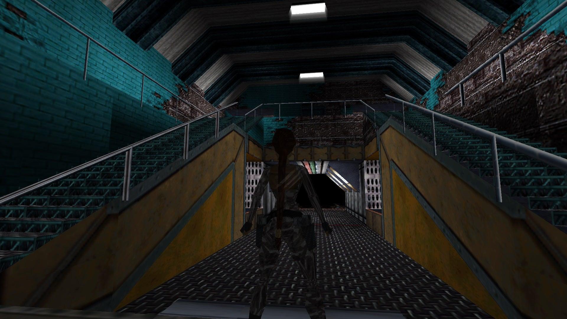 A screenshot from the Tomb Raider custom level called Big Trouble in Siberia
