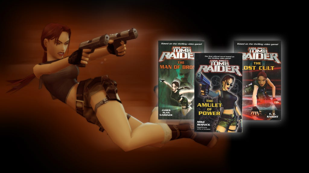 A Banner with a render of Lara Croft and 3 images of book covers from AOD-inspired novels