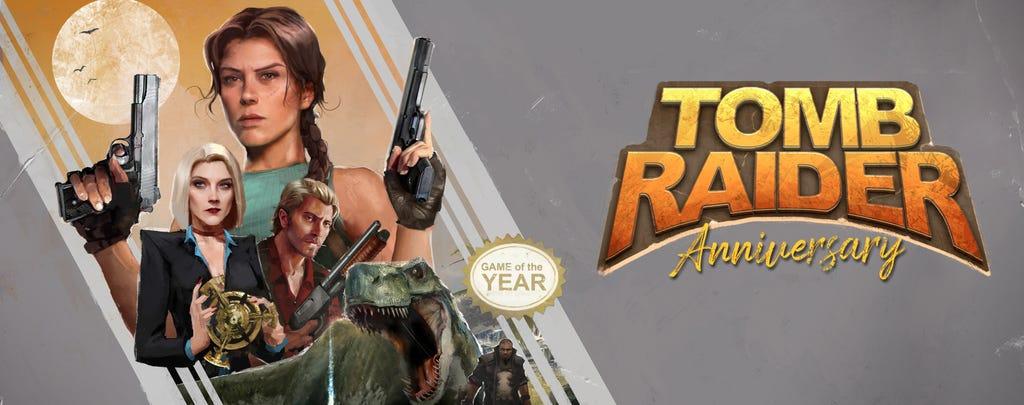 A header version of Brenoch Adams' box art reimagining for Tomb Raider: Anniversary