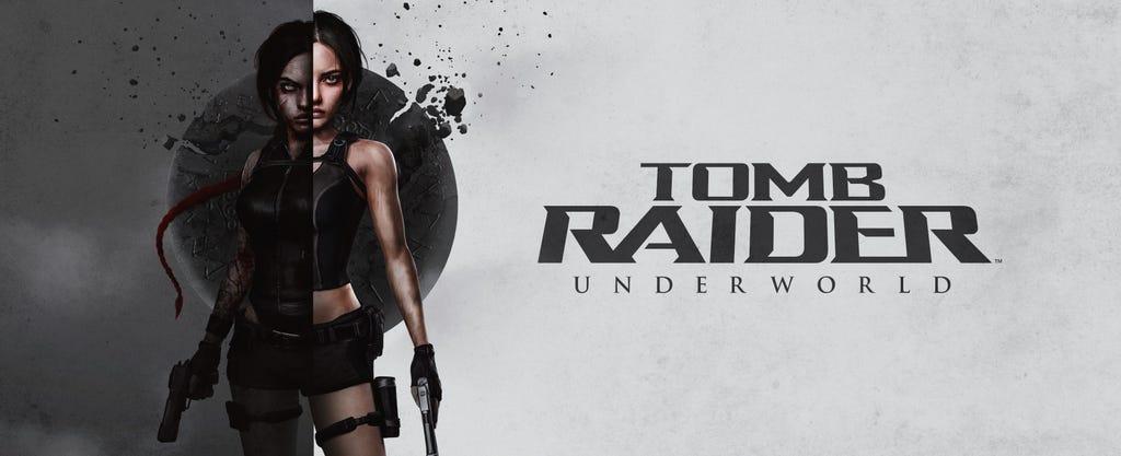 Banner version of Laura H. Rubin's box art reimagining of Tomb Raider: Underworld
