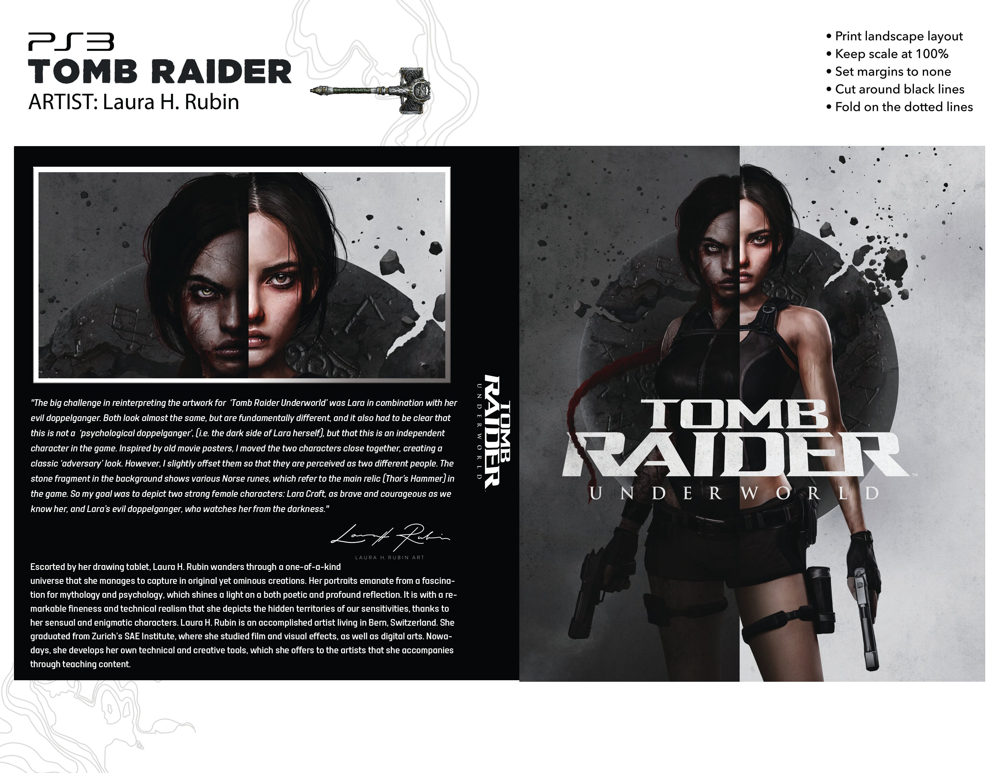 A PS3 case template for downloading Laura H. Rubin's reimagined art for Tomb Raider: Underworld