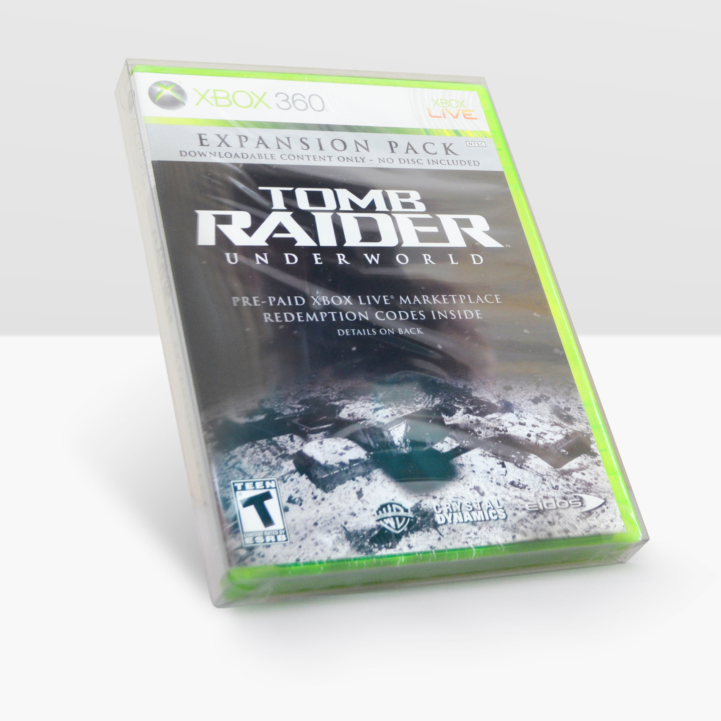 A sealed copy of an Xbox case for the Tomb Raider: Underworld expansion pack