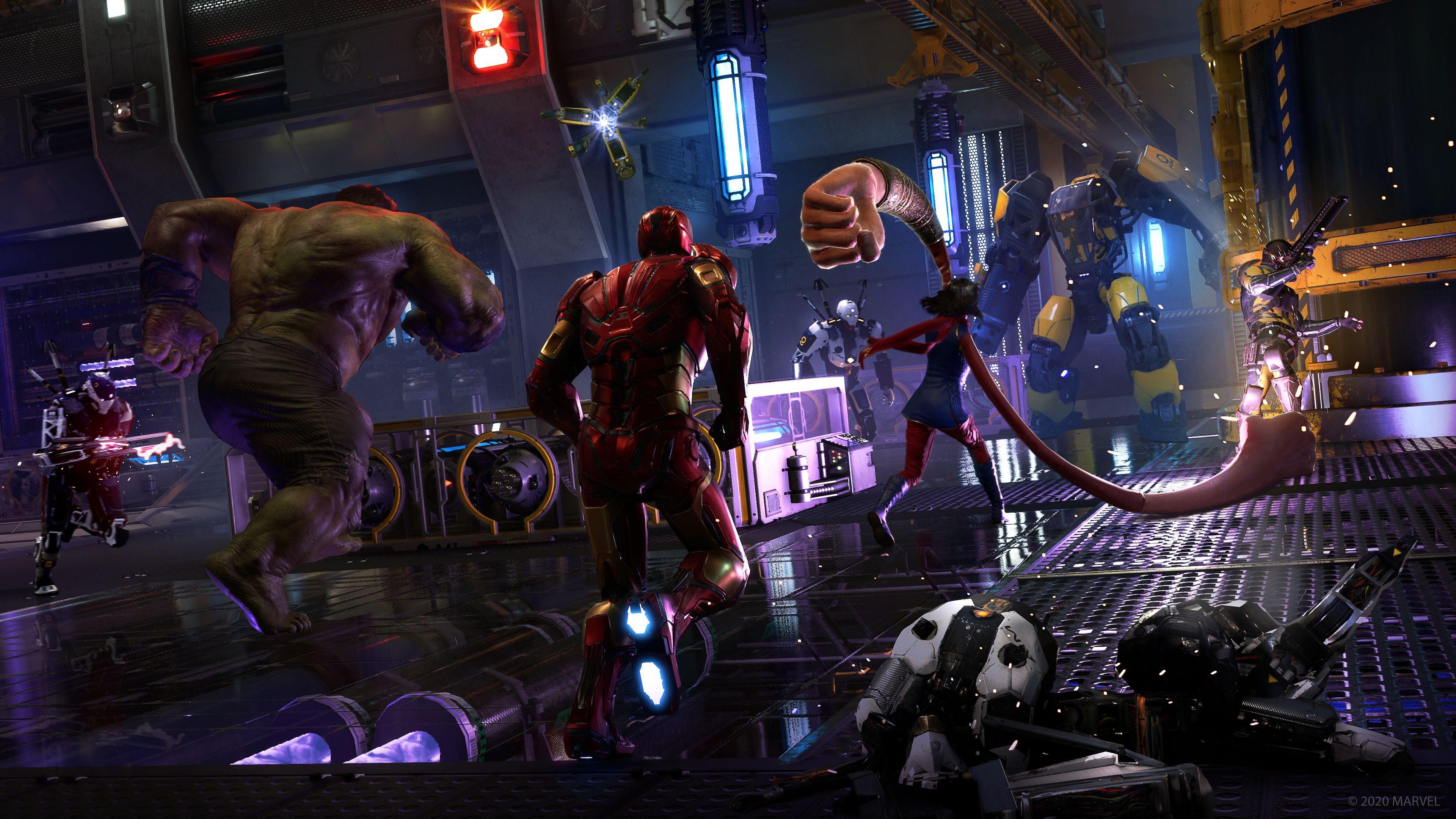 Hulk, Iron Man & Kamala Khan with enlarged fists battle Synthoids & a Exo Skeleton.