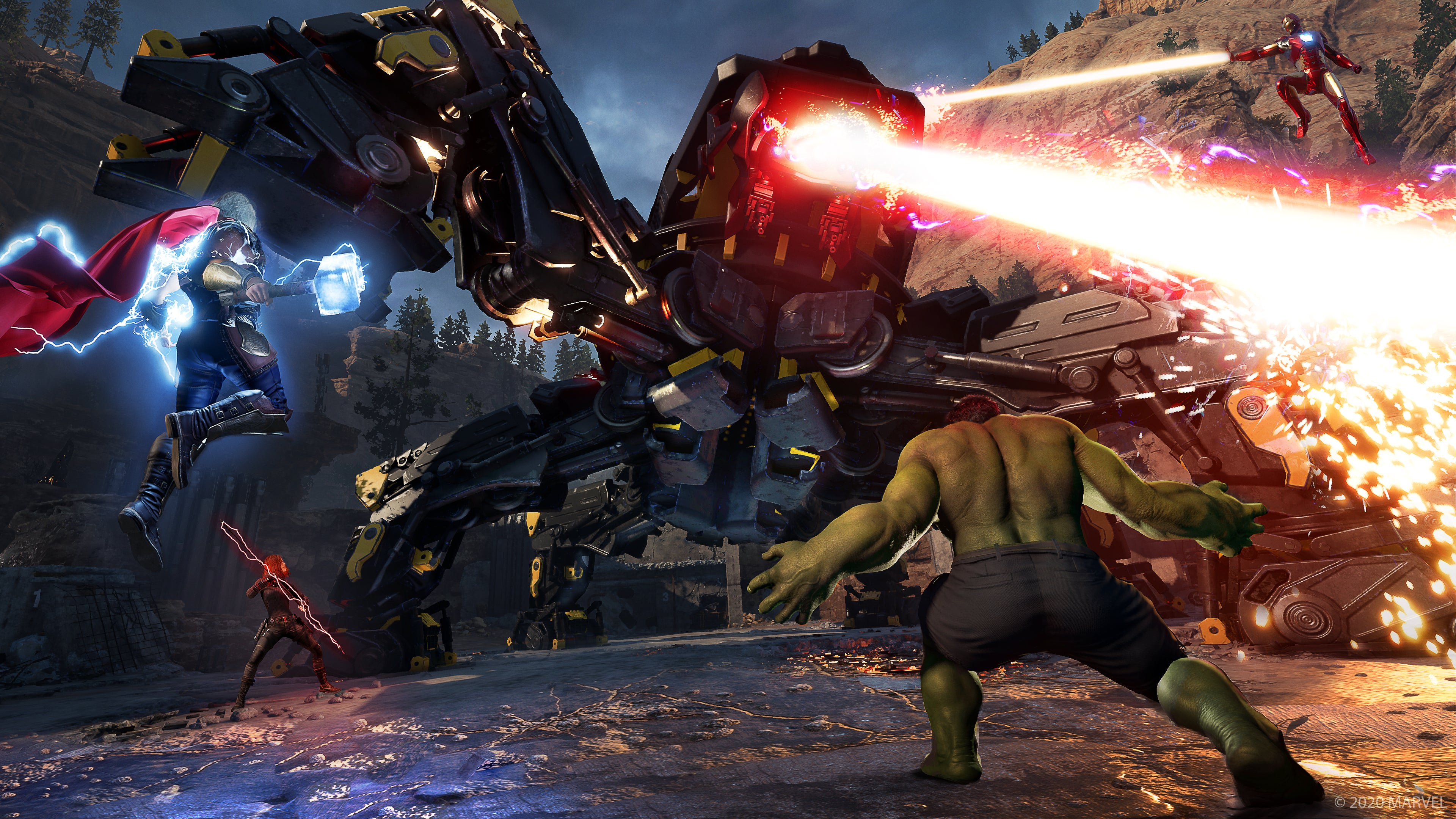 Thor & Incredible Hulk do battle against a Quad Mech shooting a laser from its eye