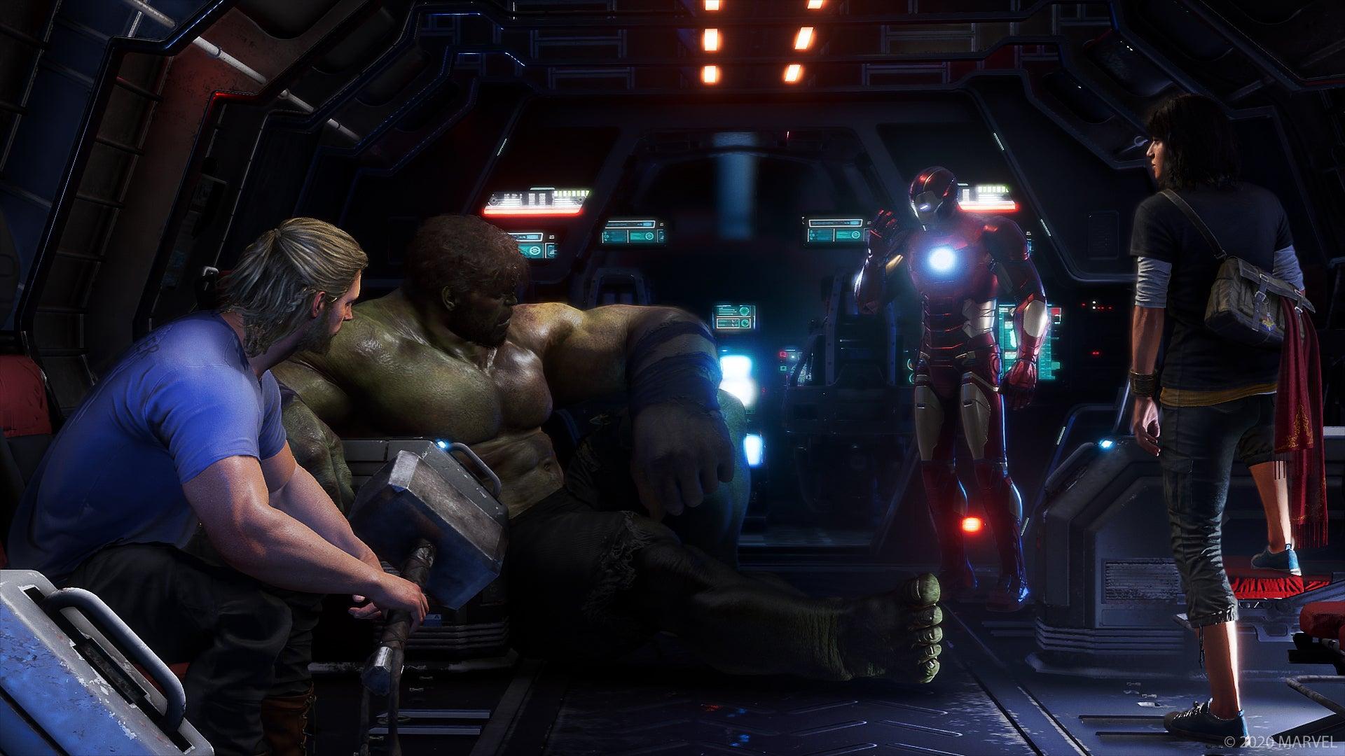 Thor, Hulk, Iron & Kamala Khan gathered in meeting.