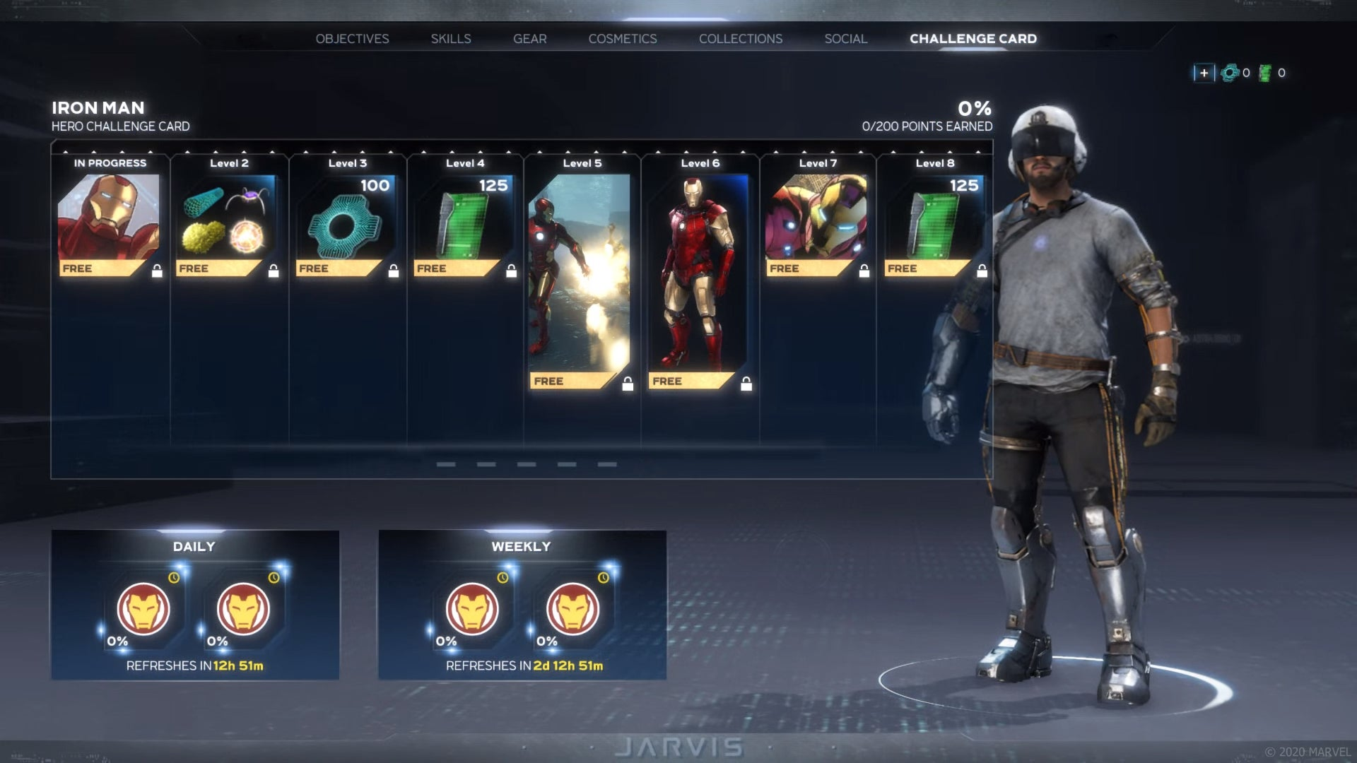 Hero Challenge Card system with Iron Man in his Makeshift Armour on display