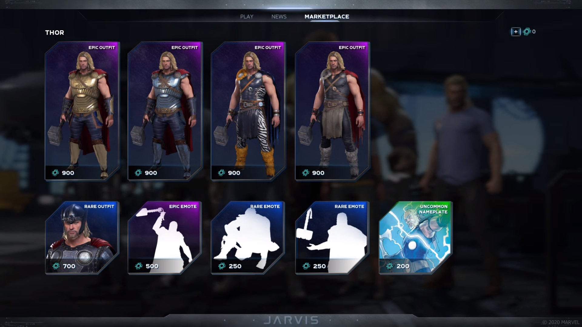 Thor marketplace containing Outfits, Emots & a Nameplate