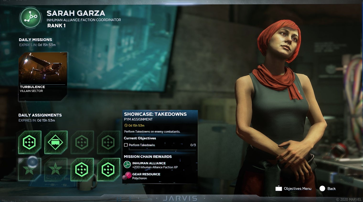 Marvel's Avengers weekly gameplay loop showing daily missions, daily assortments & Inhuman Alliance Faction Cordinator: Sarah Garza