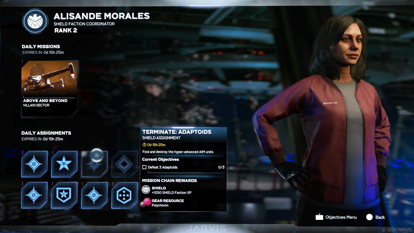 Marvel's Avengers weekly gameplay loop showing daily missions, daily assortments & Shield Faction Coordinator: Alisande Morales.
