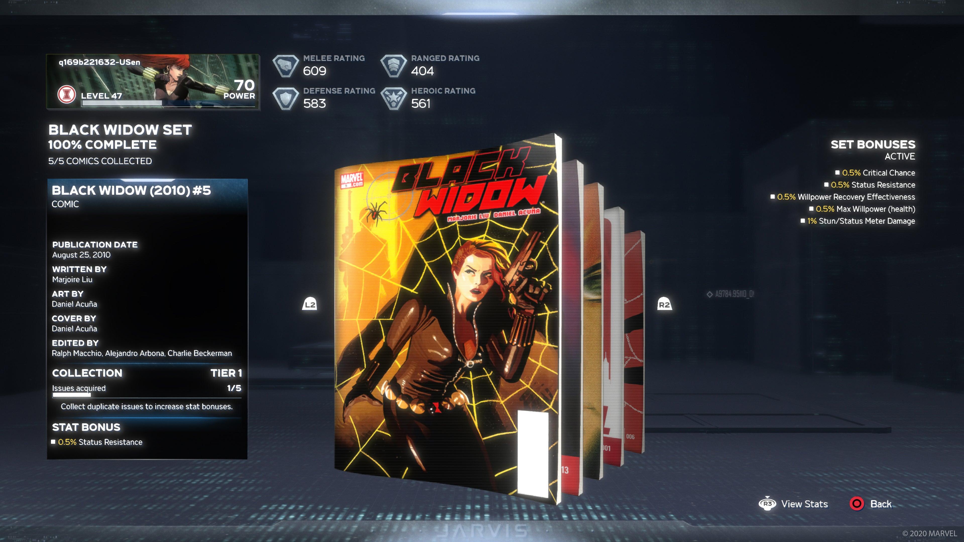 Weekly First Completion Reward: 2010's Black Widow #5 (0.5% Status Resistance)