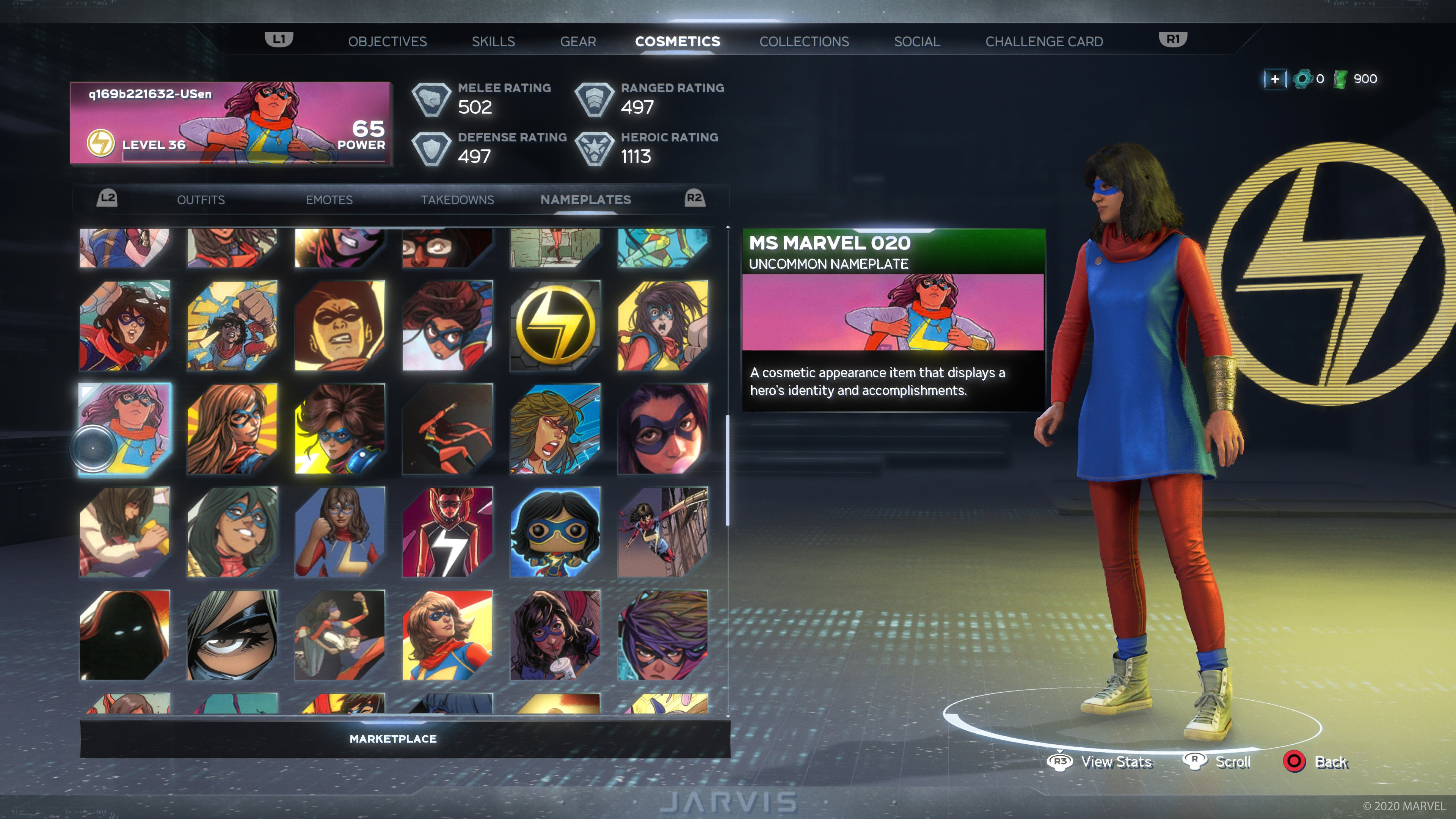 In-game screen showing a plethora of Ms Marvel nameplated. Ms Marvel 020 is promoted