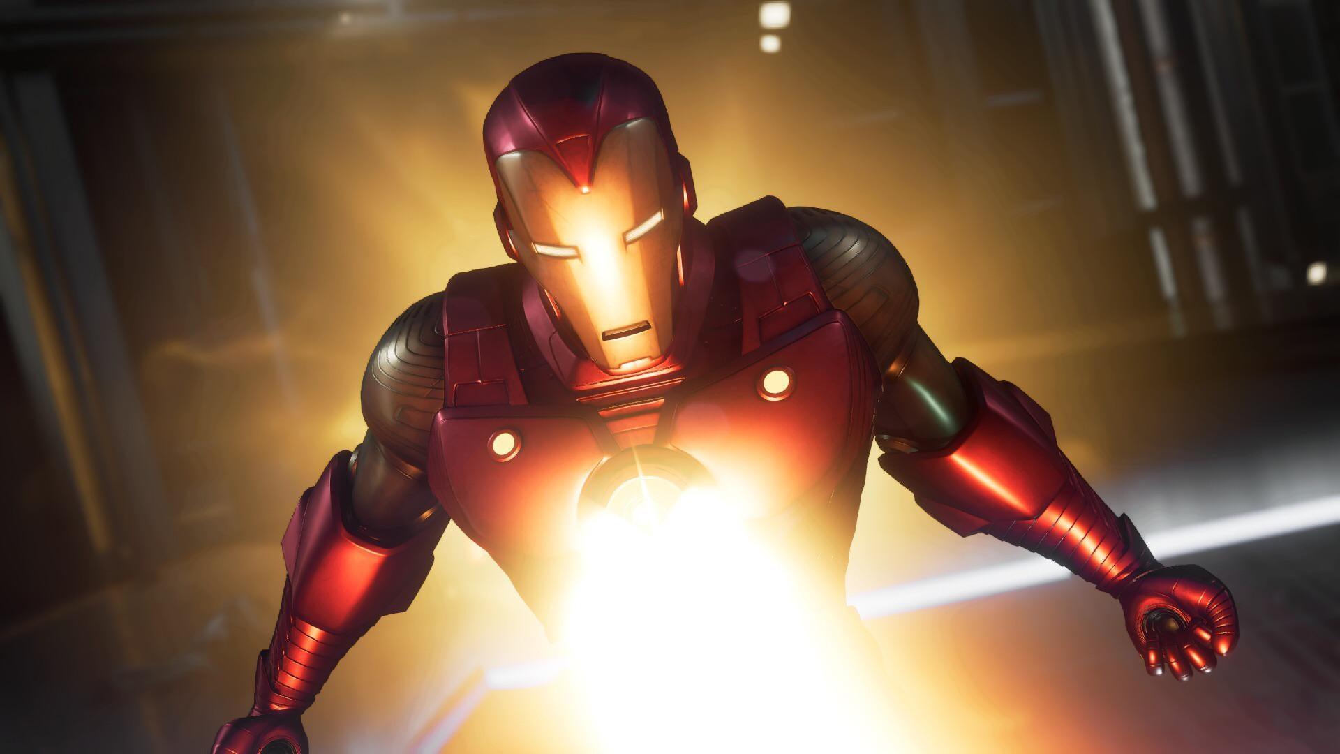 Iron Mam shooting from his Palladium Arc Reactor, the blast is bright. Palladium Arc Reactor