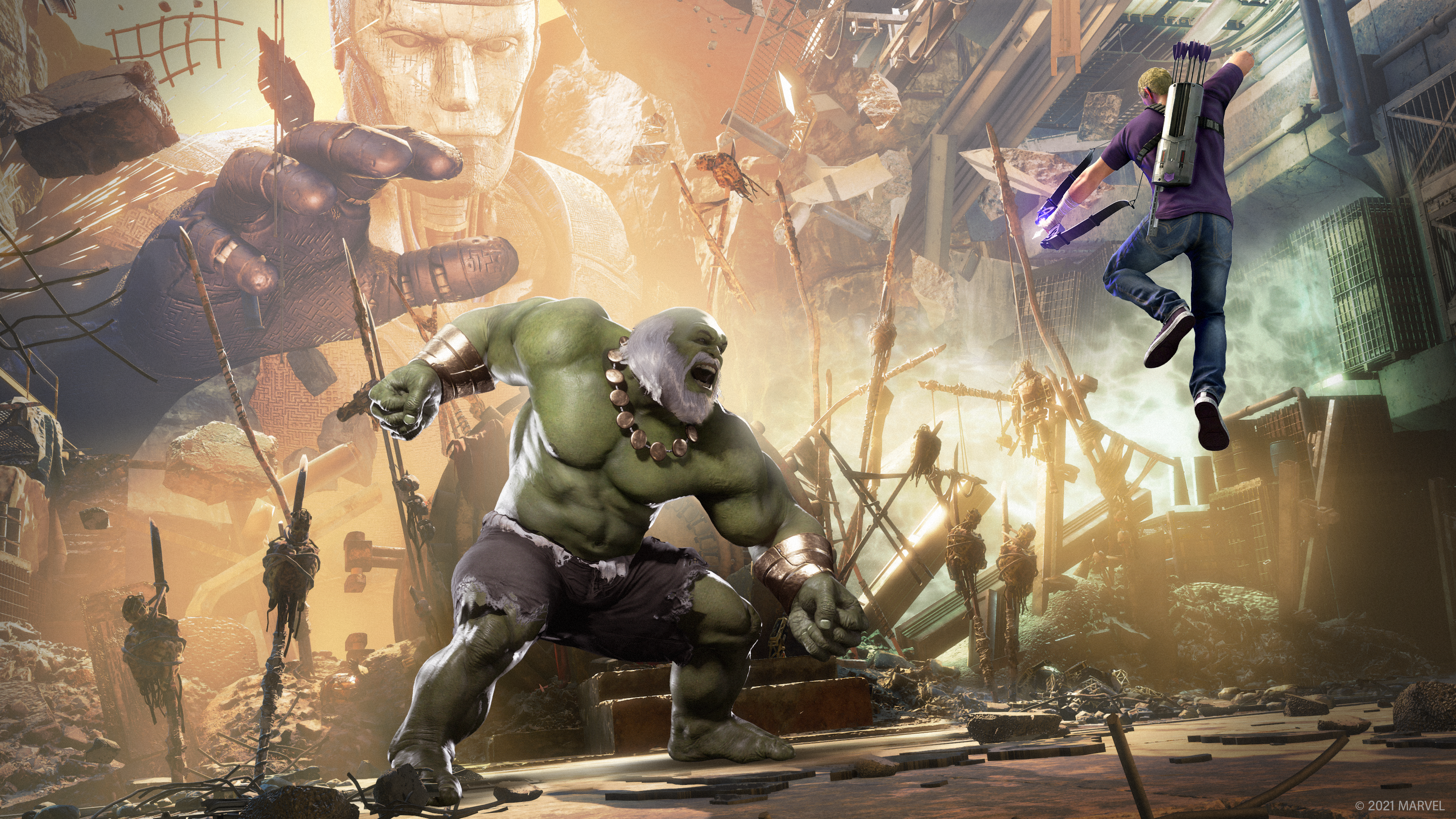 Clint Barton suspended in the air taking aim at Hulk