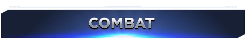 "Blue banner with silver text reading ""Combat"""