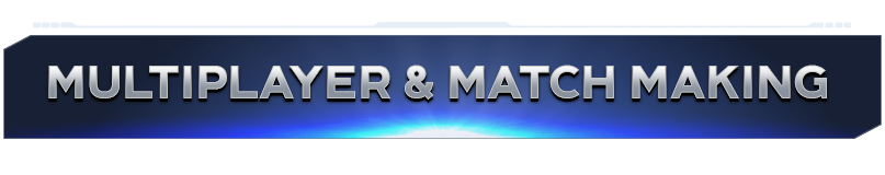 "Blue banner with silver text reading ""Multiplayer & Matchmaking"""