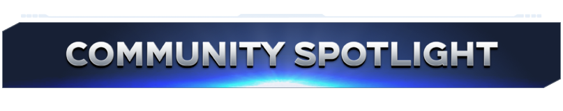 """Blue banner with silver text reading """"Community Spotlight"""""""