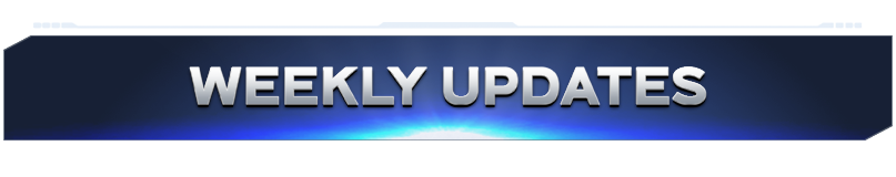 """Blue banner with silver text reading """"Weekly Updates"""""""