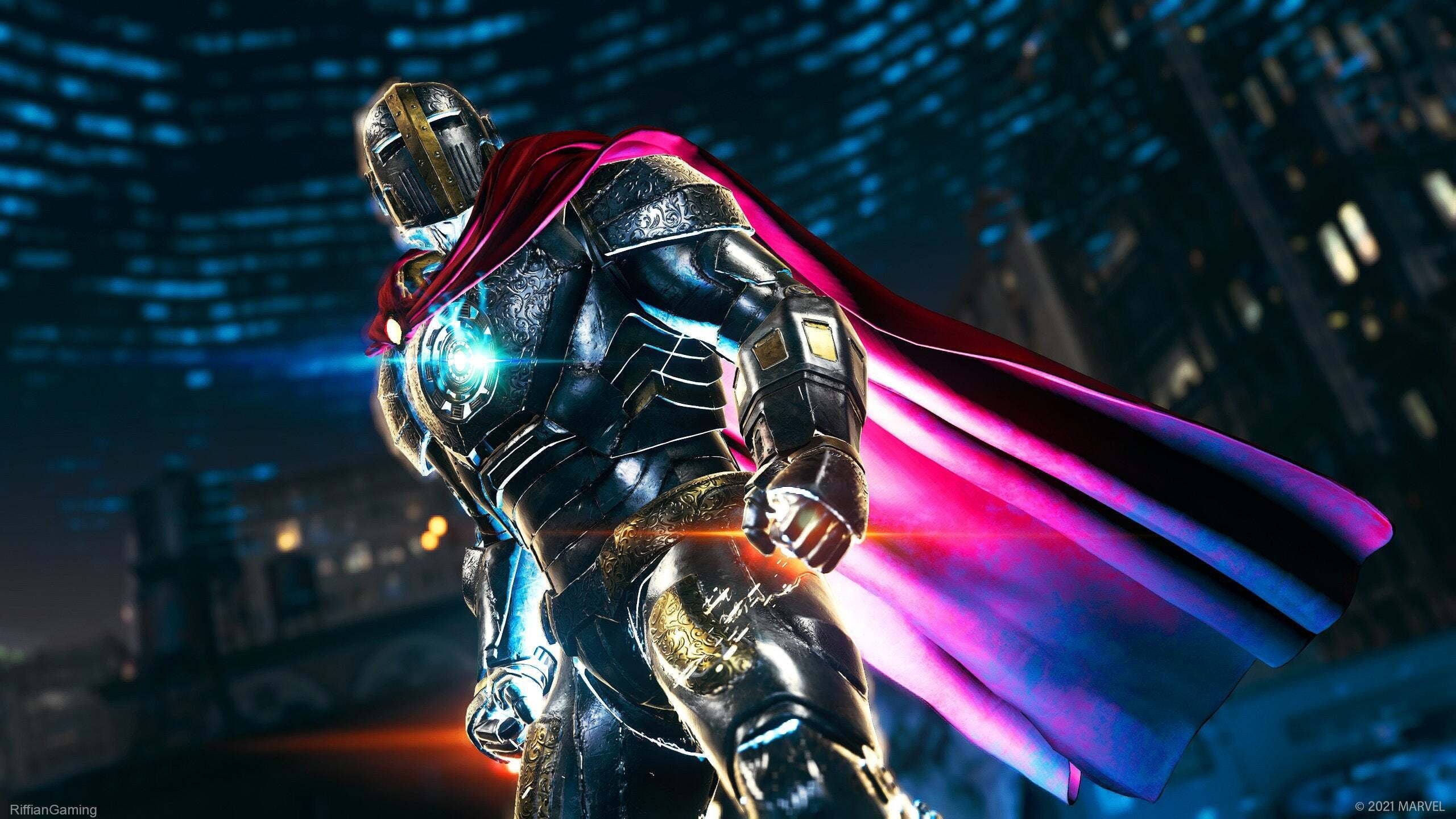 Iron Man in his Iron Knight costume with glowing cape and glinting flashes of metal.