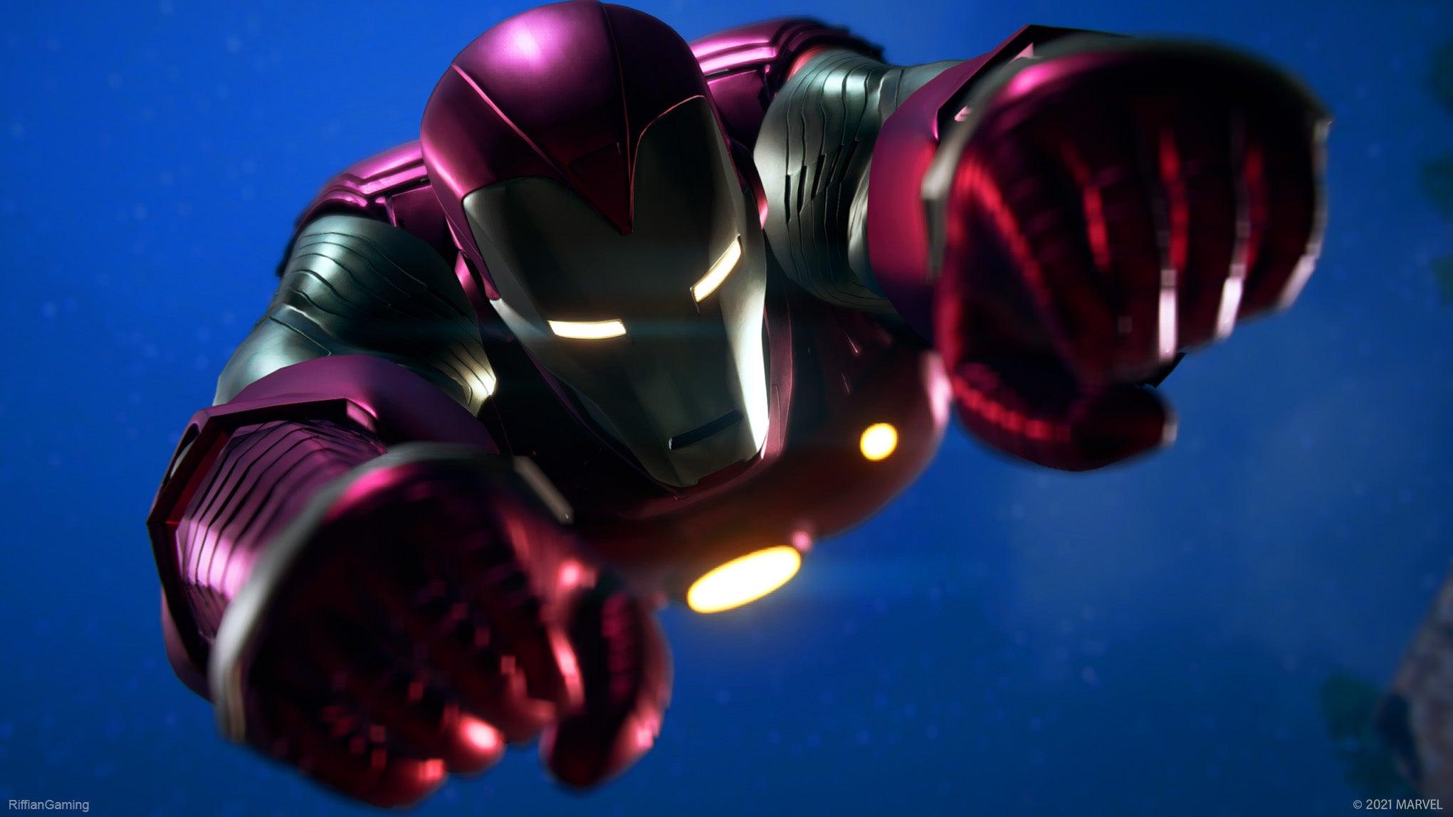 Iron Man flying towards the camera.