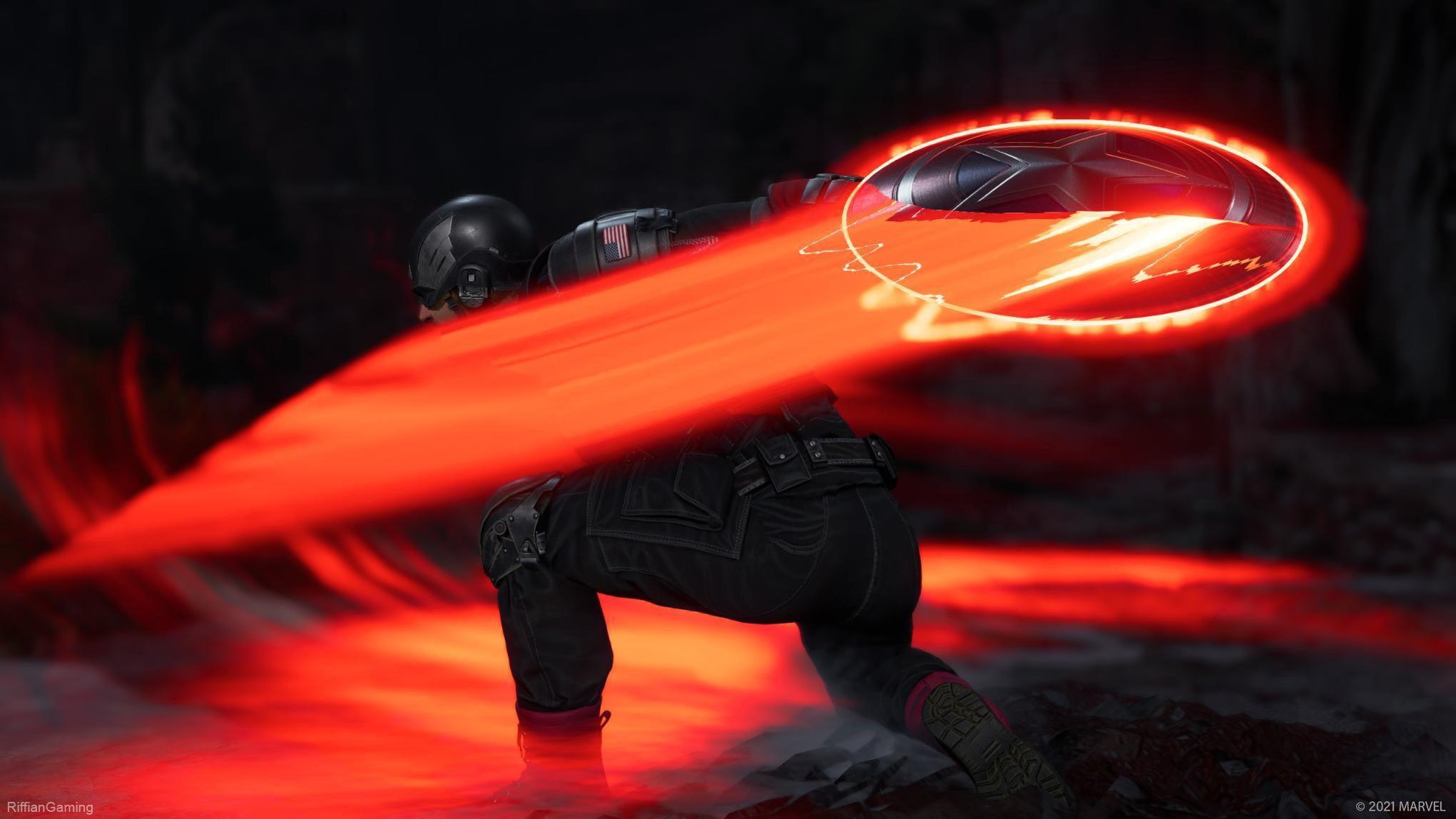 Captain America throws his shield, which glows orange.