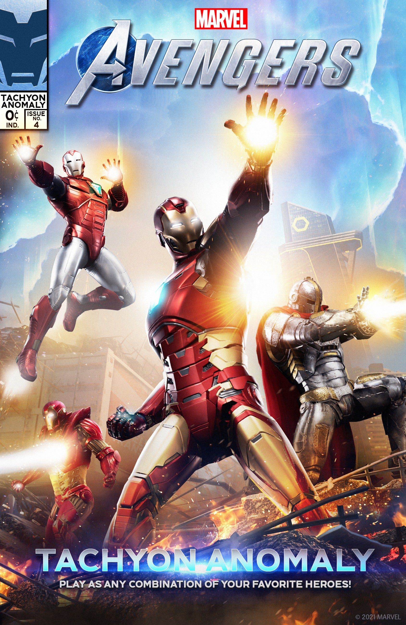 A comic book styled cover of the Tachyon Anomaly event, in which your Iron Mans ready their repulsors and blast their beams.
