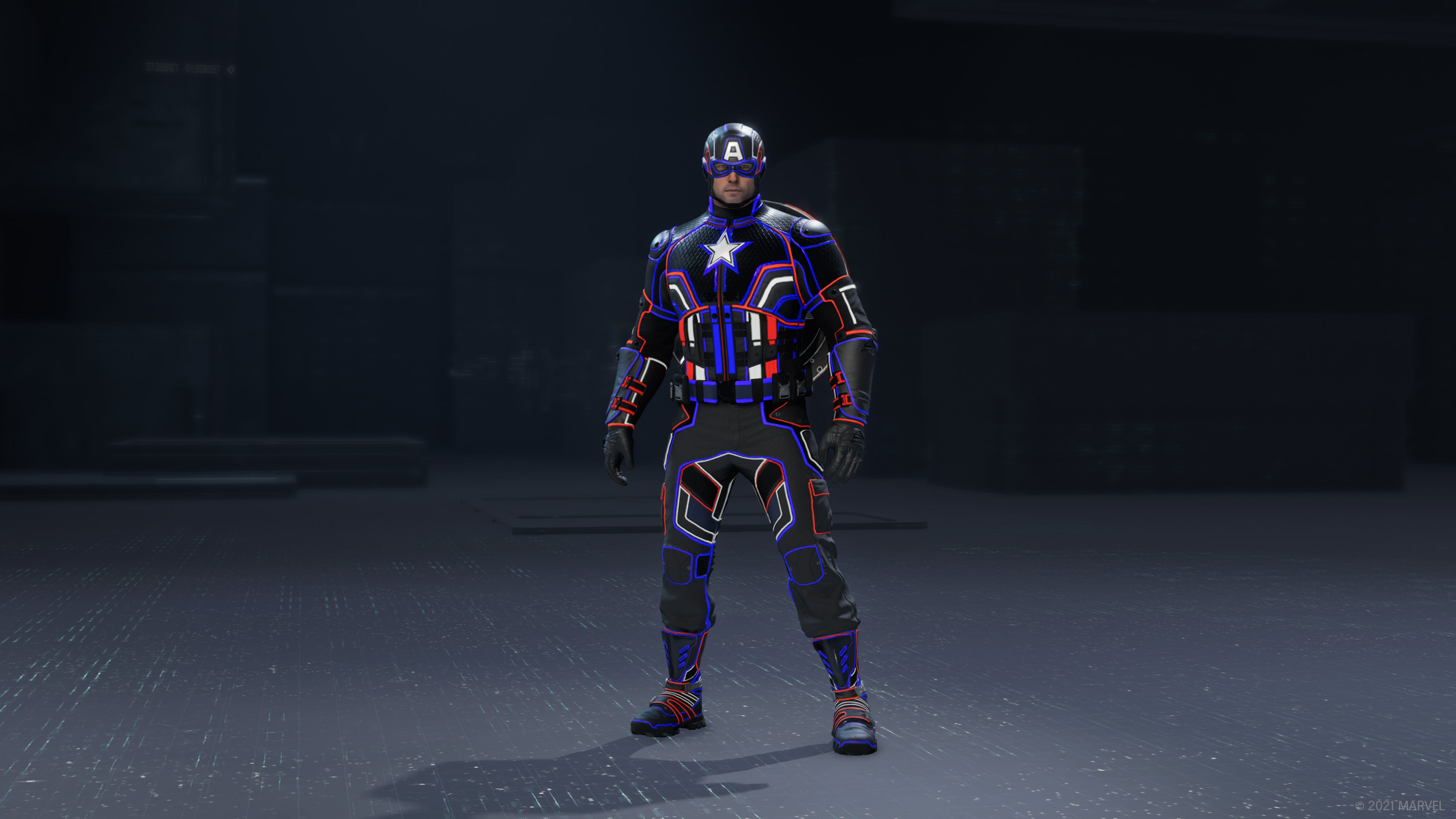 Captain America in his Monatomic outfit in the outfit preview UI.