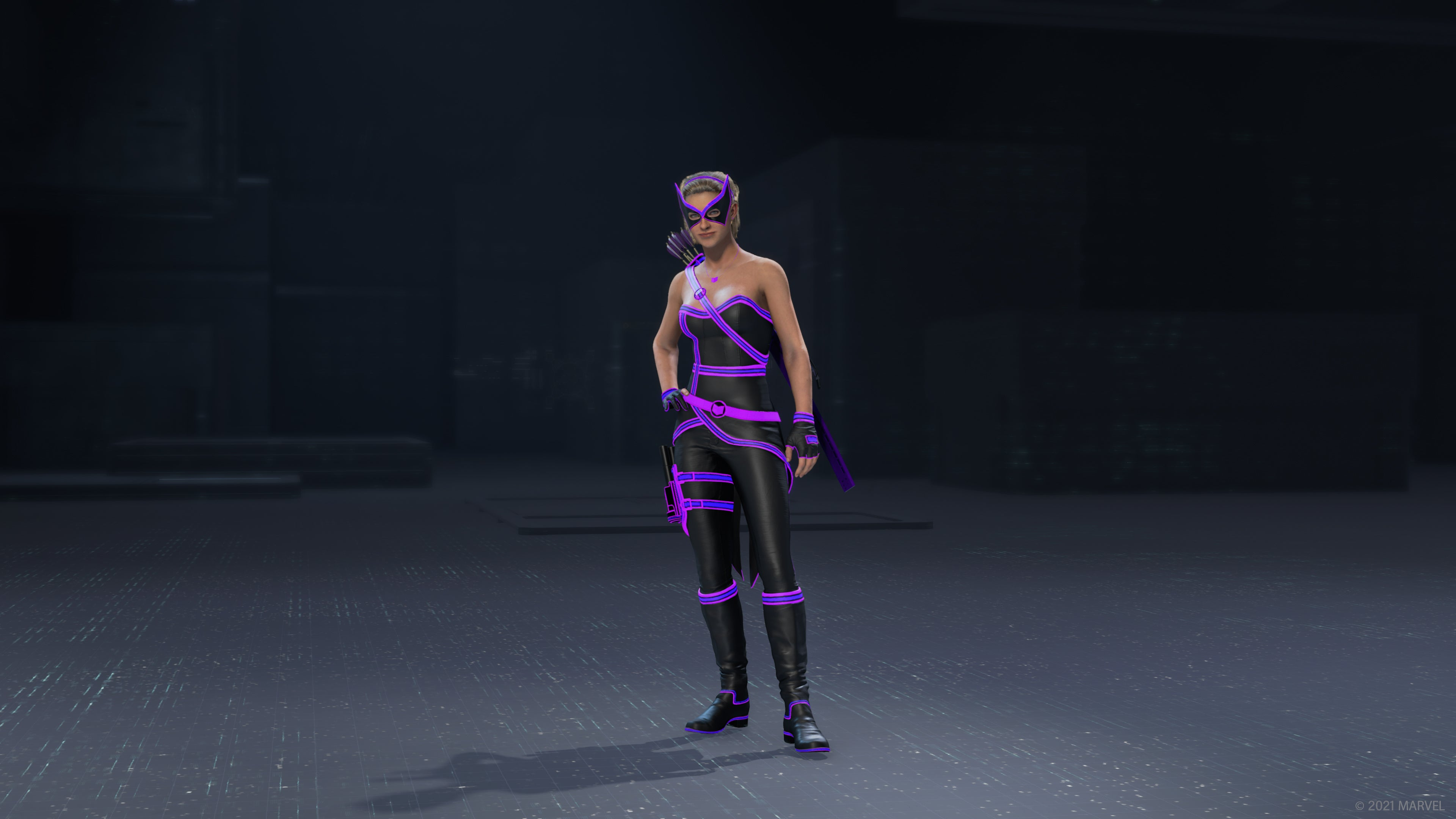 Kate Bishop in her Monatomic outfit in the outfit preview UI.