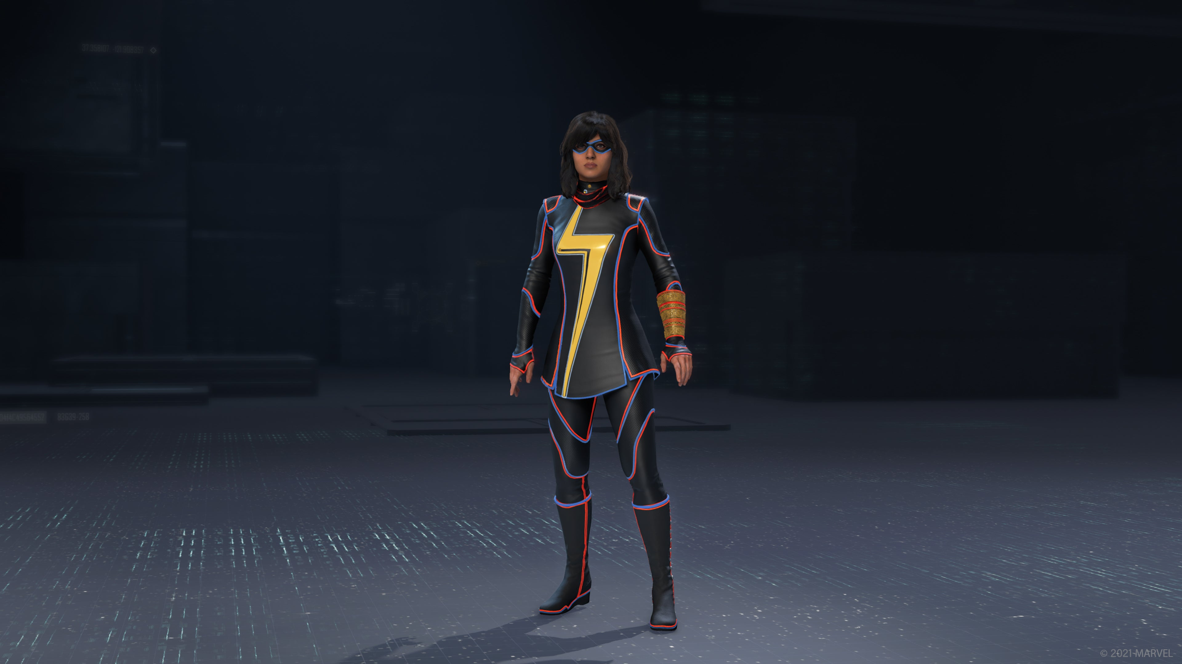 Kamala Khan in her Monatomic outfit in the outfit preview UI.