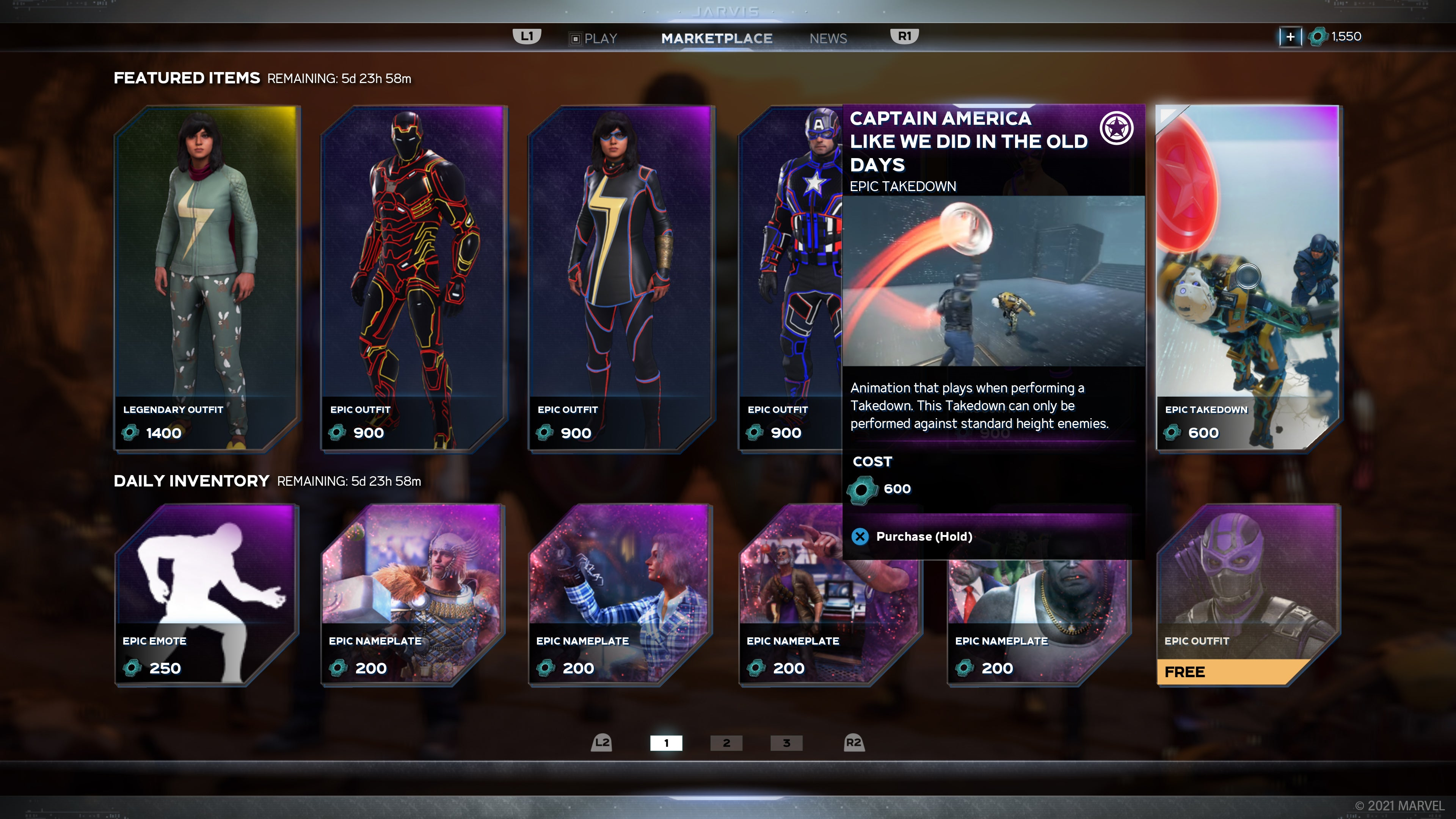 This week's Marketplace, highlighting the Captain America Takedown.