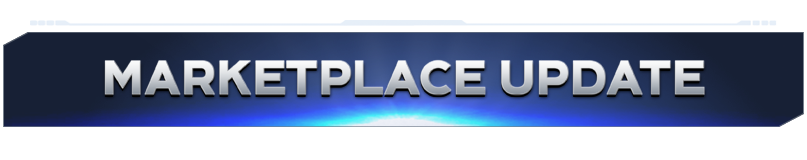 """Blue banner with silver text reading """"Marketplace Update"""""""