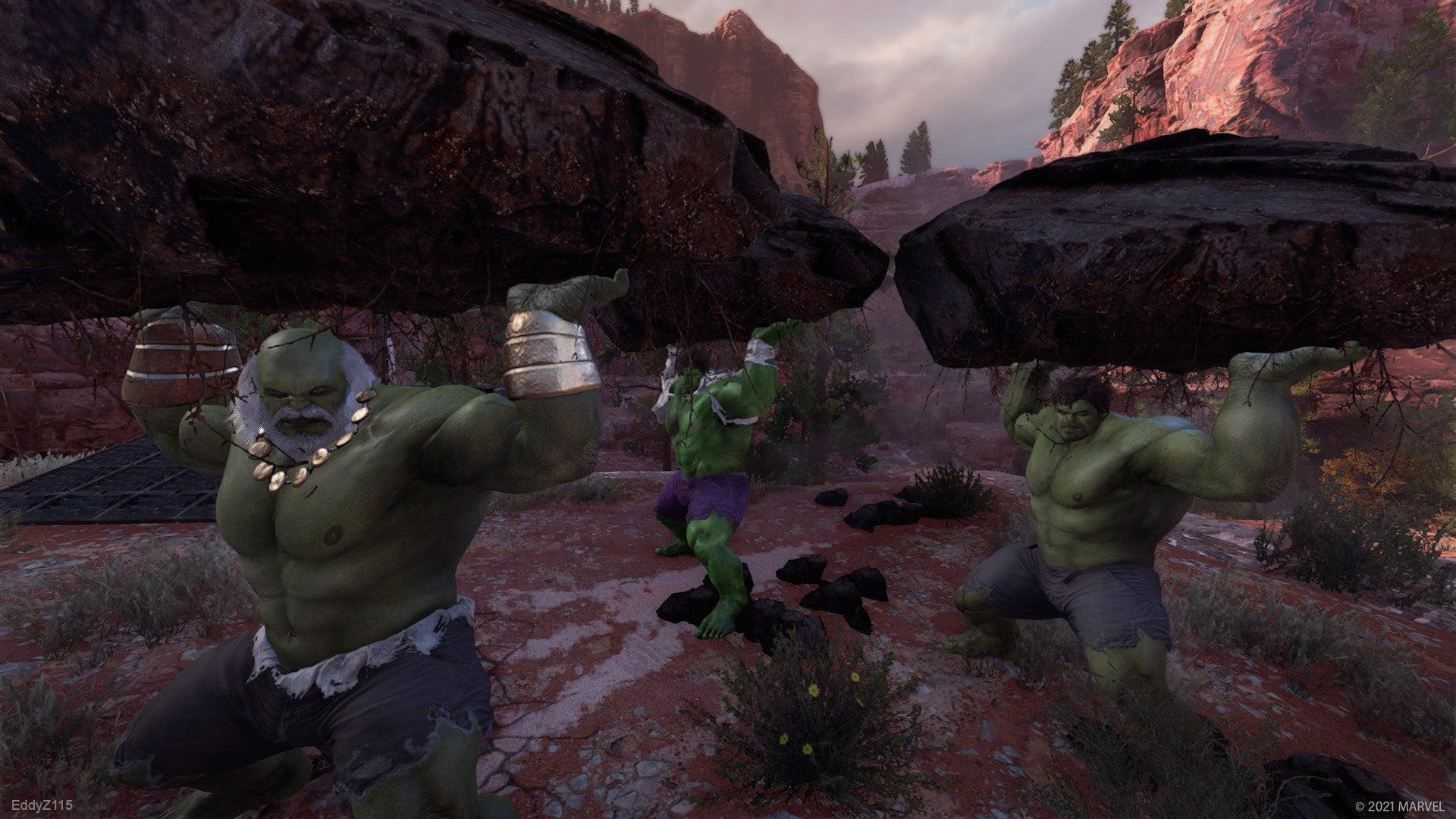 Three Hulks lift giant boulders above their heads in the Utah Badlands.