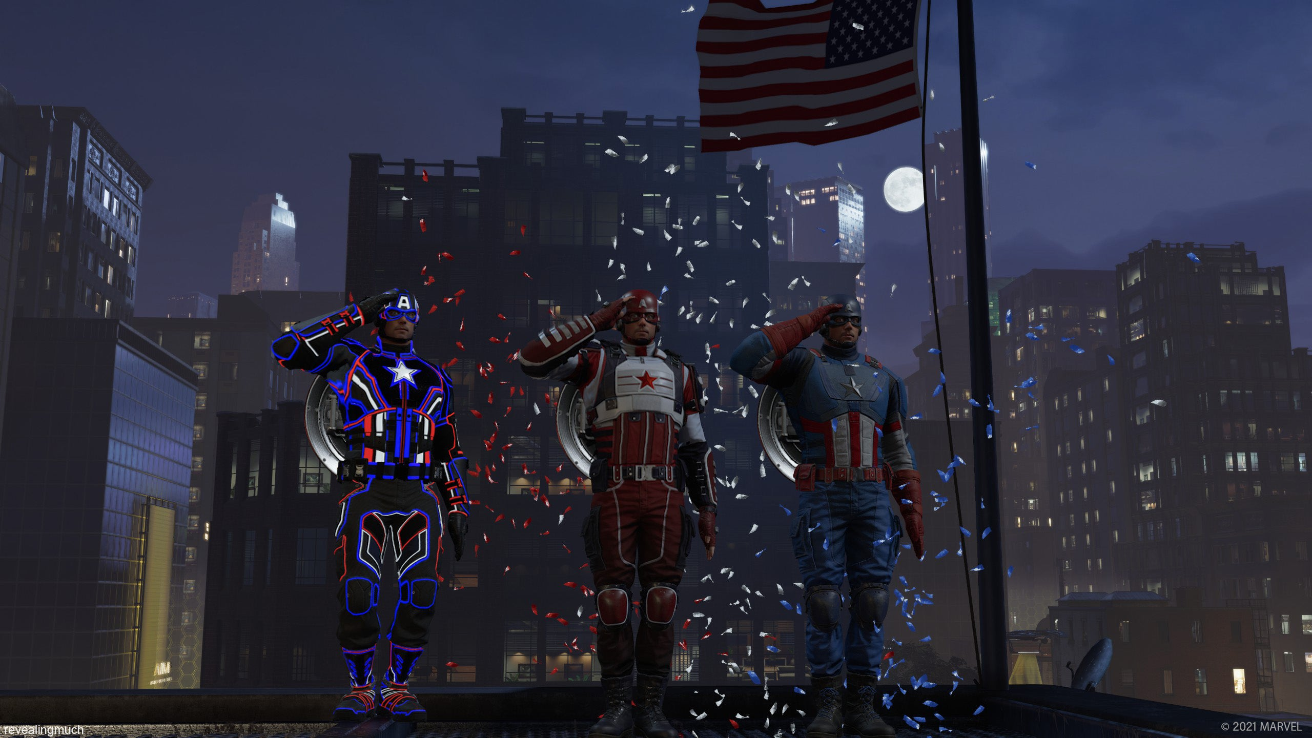 Three Captain Americas stand by an American flag atop a city building's rooftop, saluting as red white and blue confetti falls around them.