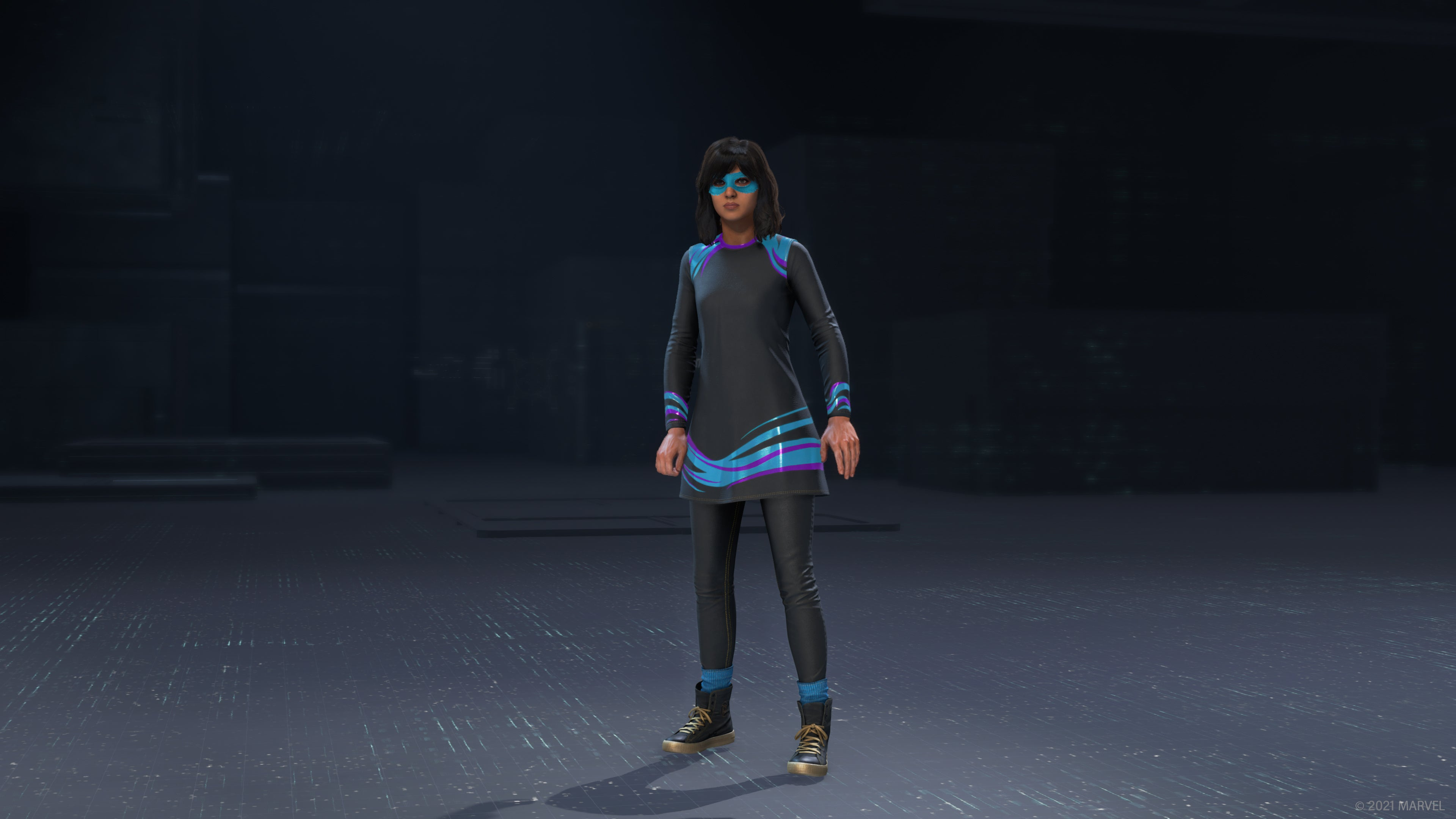 Ms. Marvel in her Beach Day outfit standing in the in-game outfit preview.