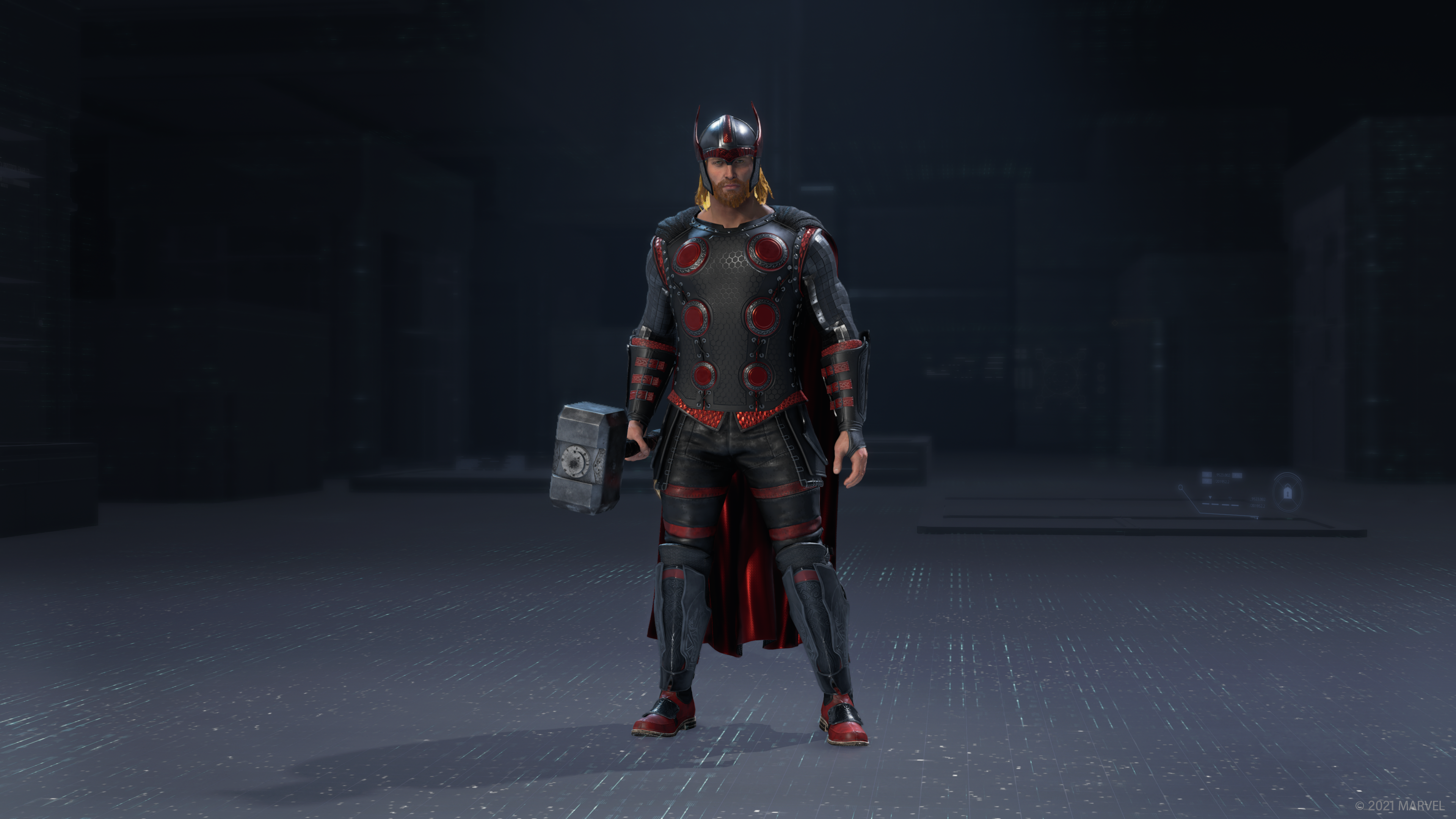 Thor in his Red Room outfit standing in the in-game outfit preview.