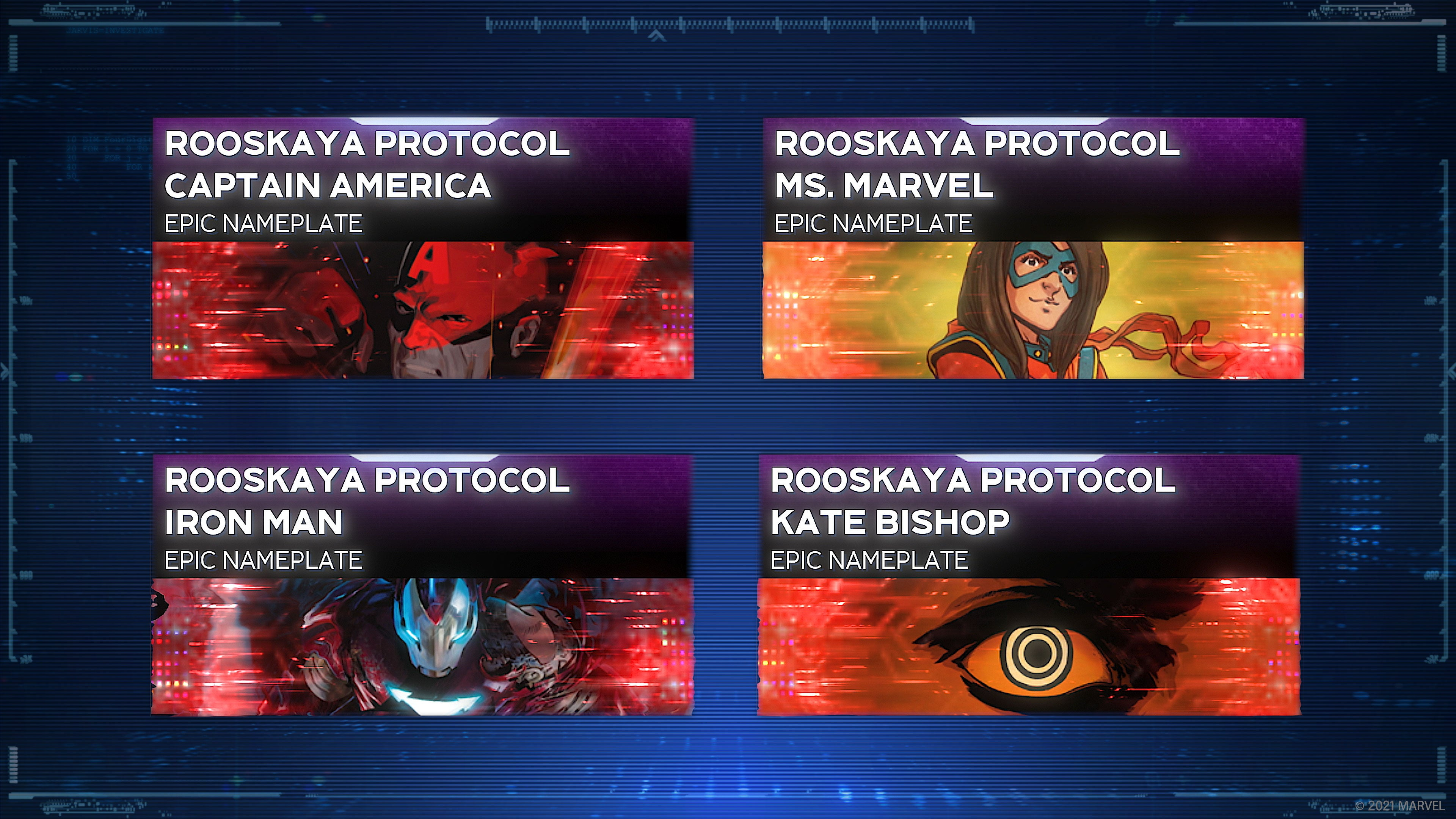 Preview of this week's four animated Red Room nameplates.