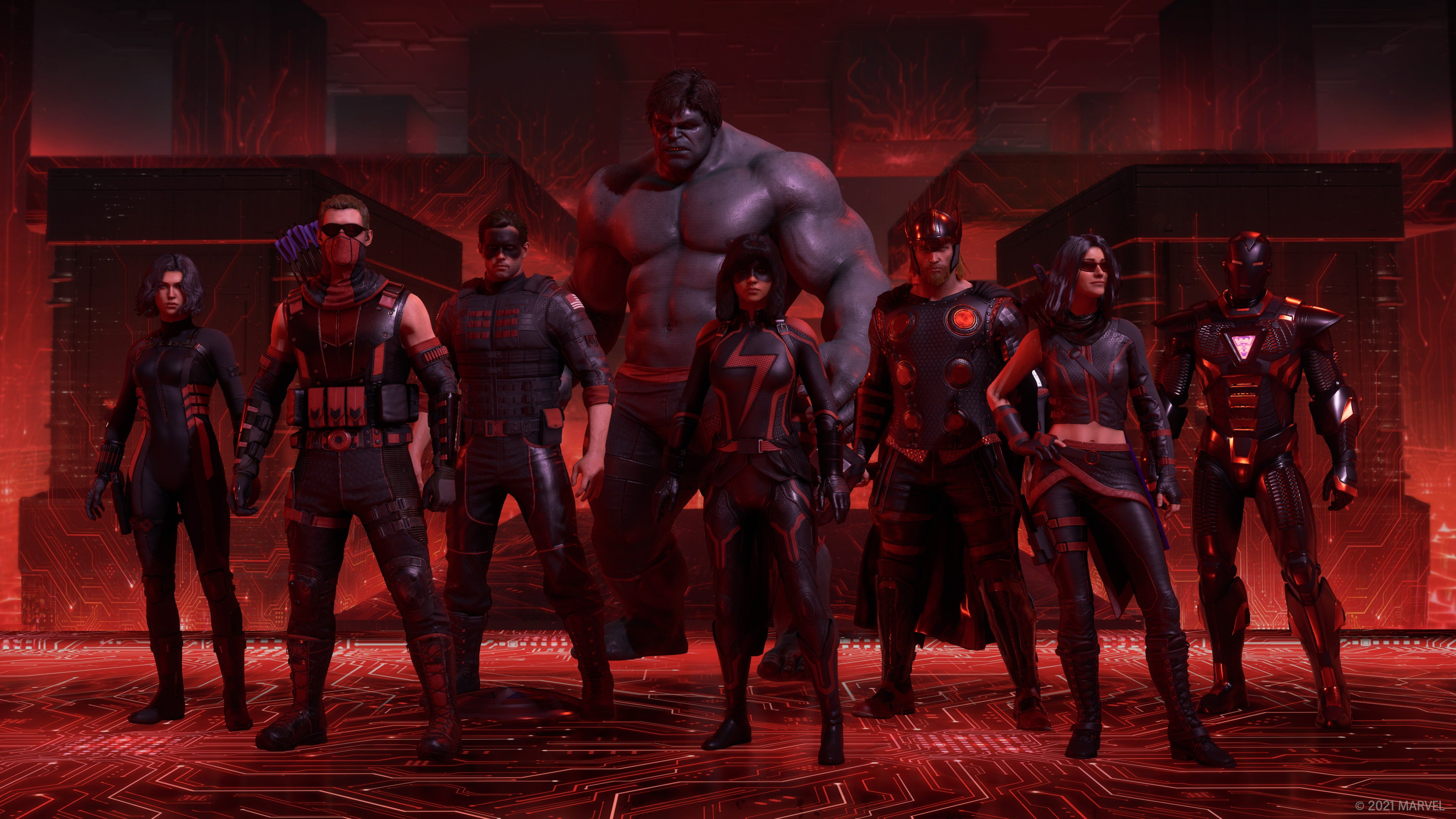 The full roster of Heroes poses in the Red Room in their black and red Red Room outfits.