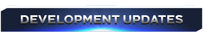 """Blue banner with silver text reading """"Development Updates"""""""